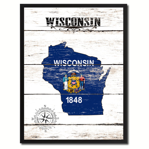 Wisconsin State Flag Gifts Home Decor Wall Art Canvas Print Picture Frames