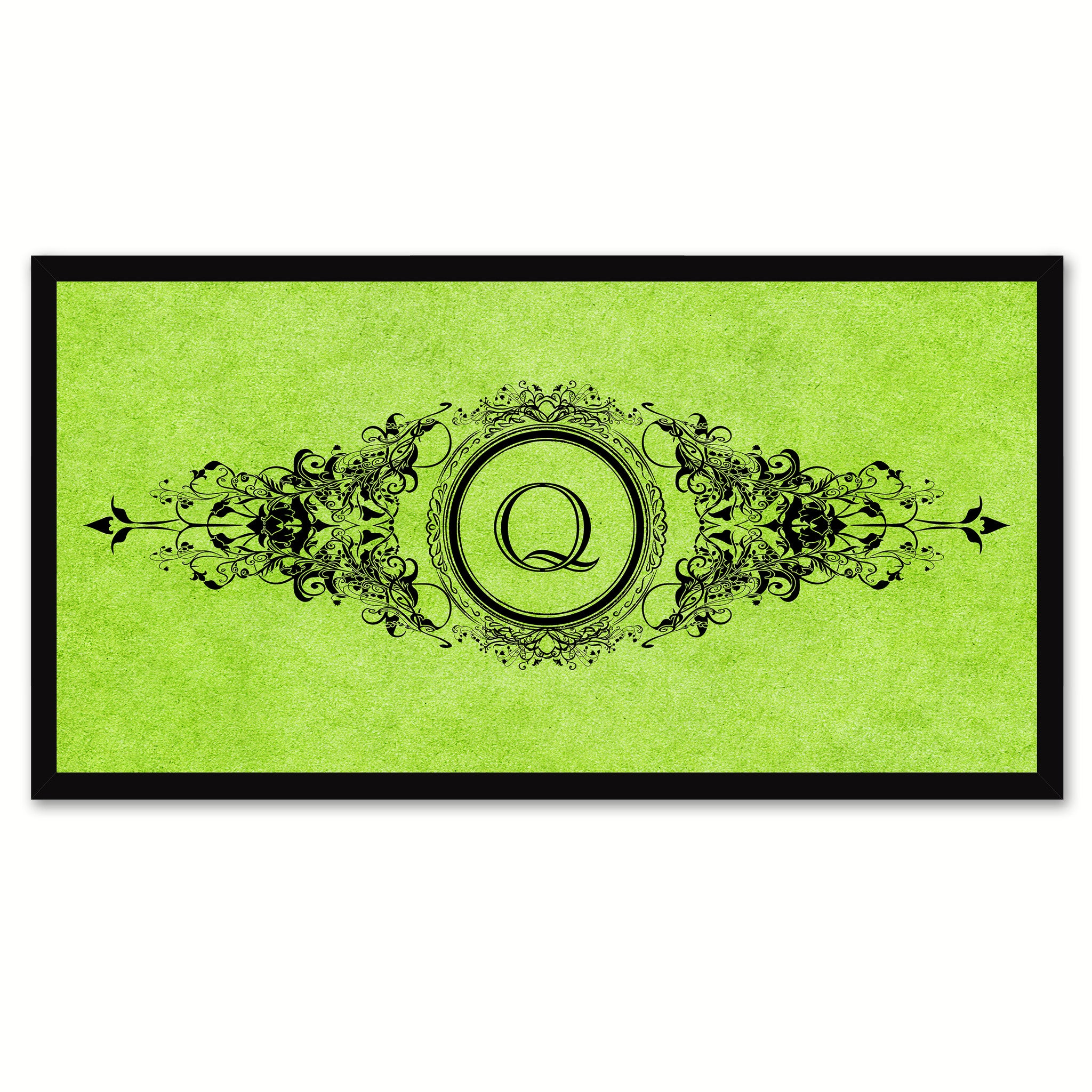 Alphabet Letter Q Green Canvas Print, Black Custom Frame