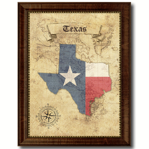 Texas State Vintage Map Home Decor Wall Art Office Decoration Gift Ideas