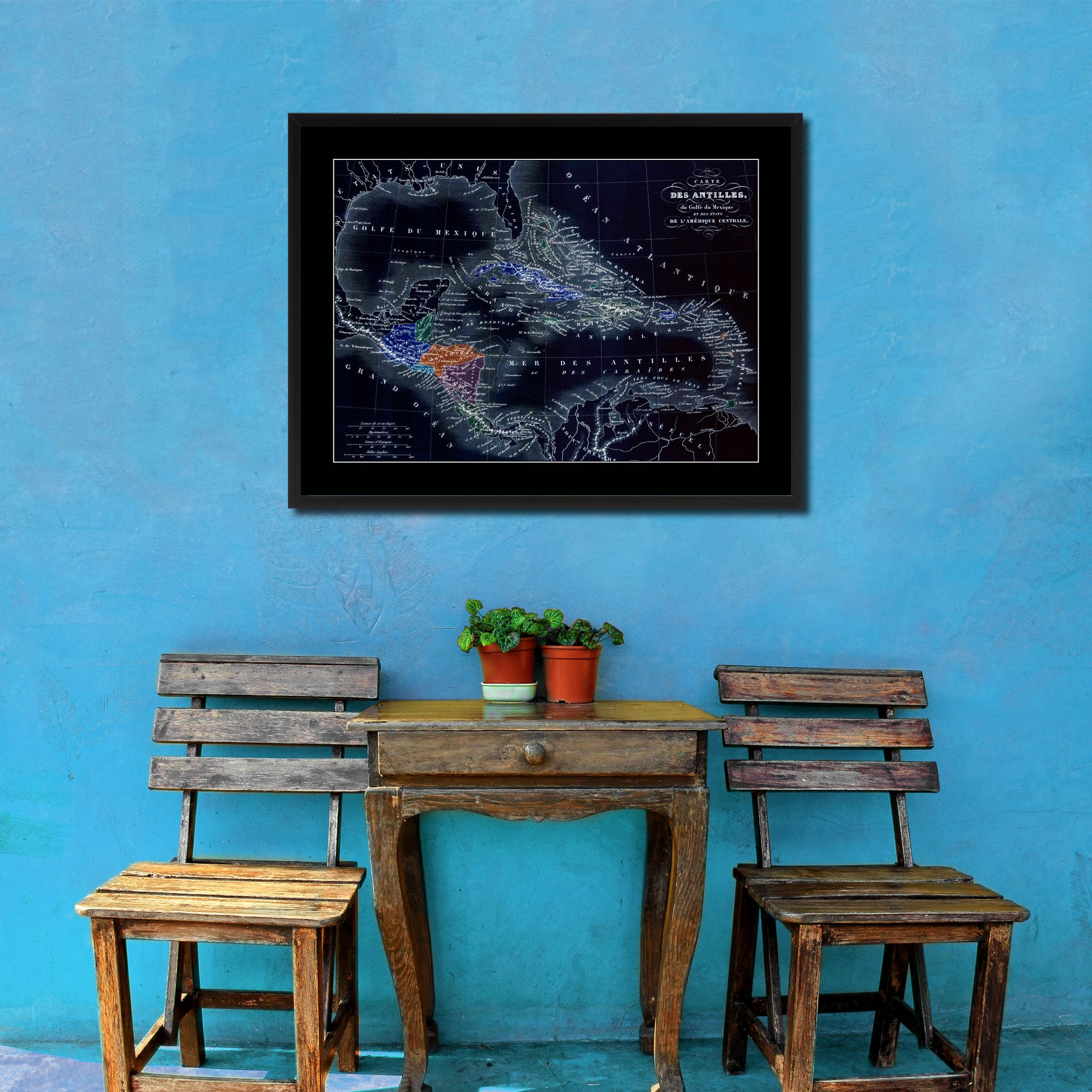 West Indies Caribbean Vintage Vivid Color Map Canvas Print, Picture Frame Home Decor Wall Art Office Decoration Gift Ideas