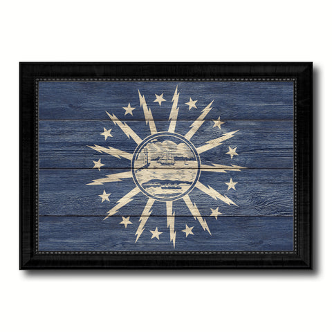 Buffalo City New York State Texture Flag Canvas Print Black Picture Frame