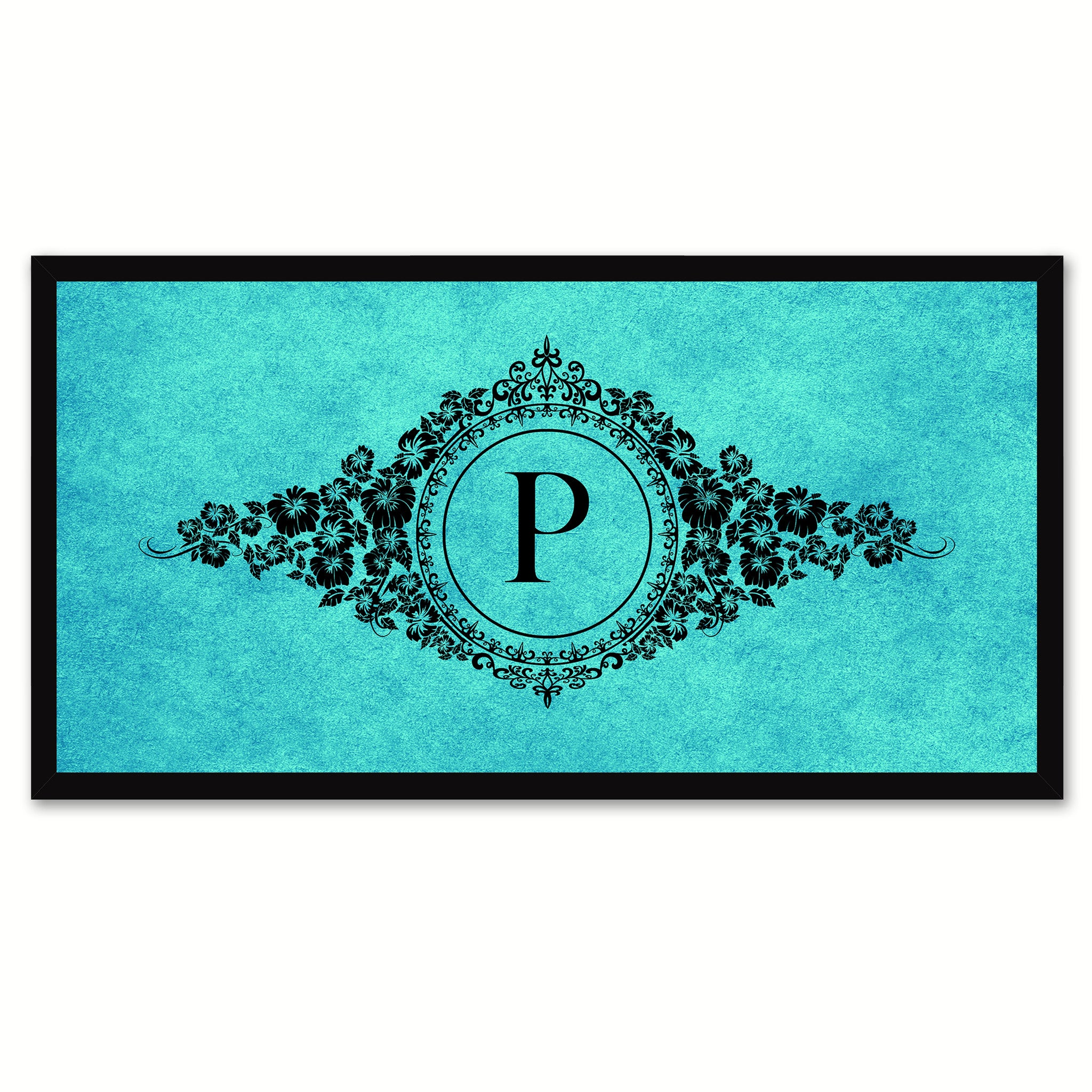 Alphabet Letter P Auqa Canvas Print, Black Custom Frame