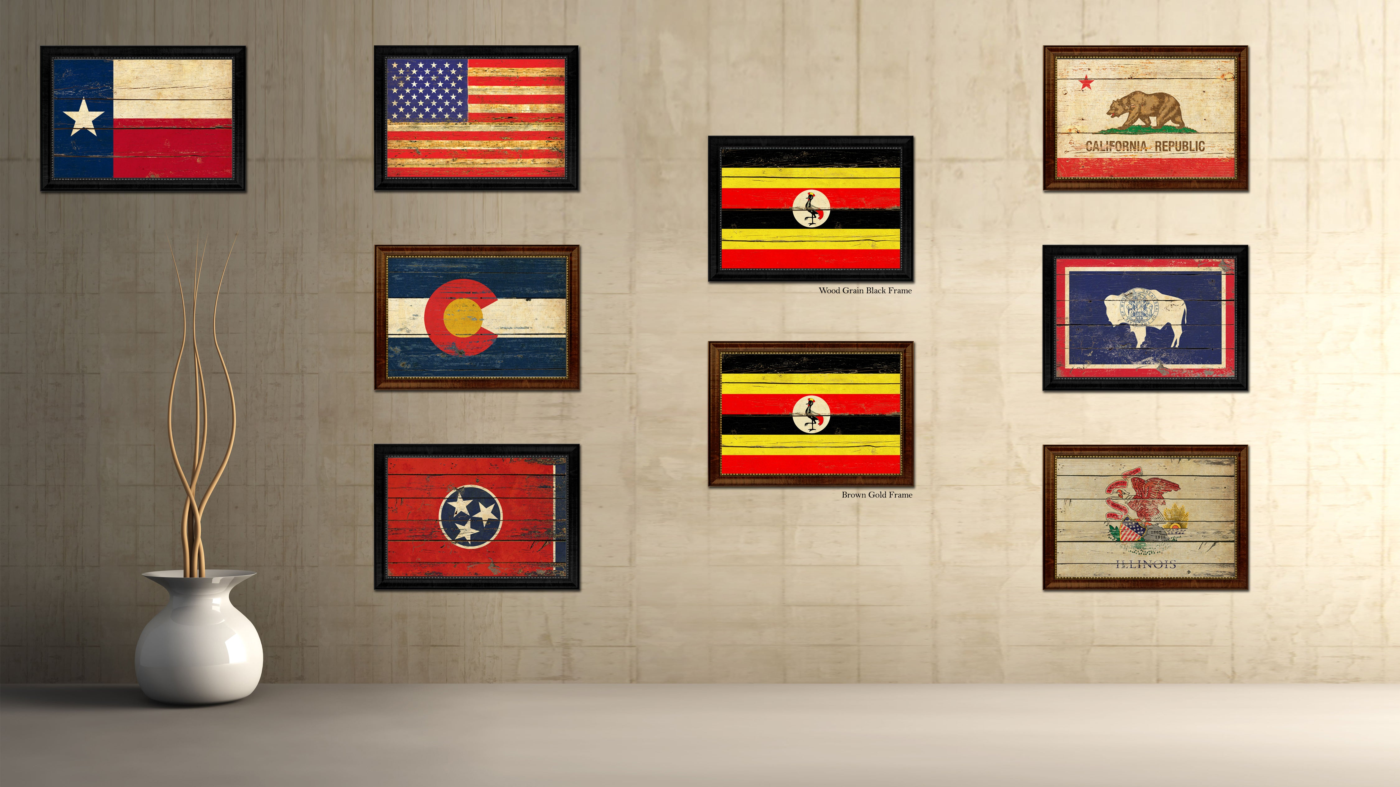 Uganda Country Flag Vintage Canvas Print with Black Picture Frame Home Decor Gifts Wall Art Decoration Artwork