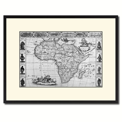 Africa Vintage B&W Map Canvas Print, Picture Frame Home Decor Wall Art Gift Ideas