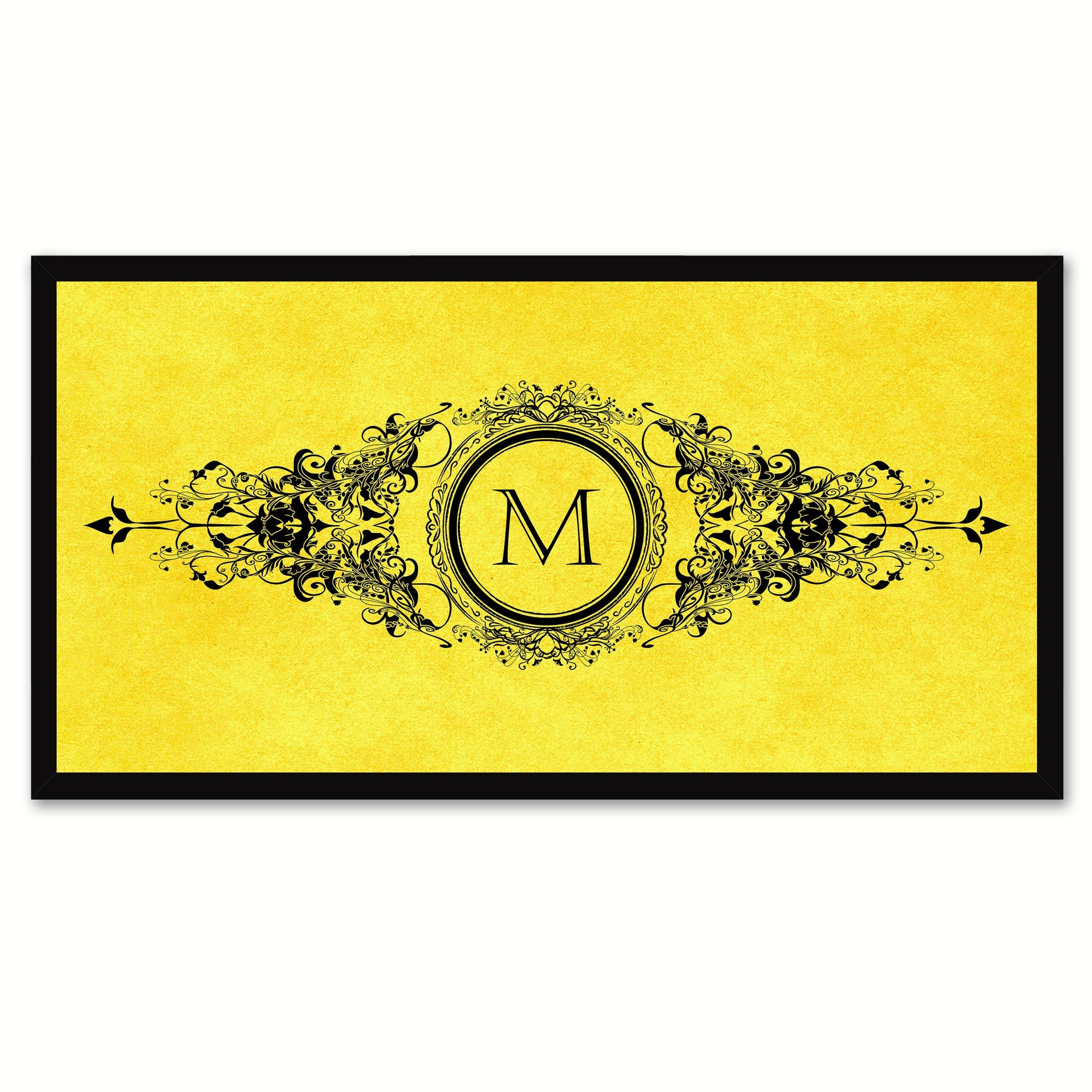 Alphabet Letter M Yellow Canvas Print, Black Custom Frame