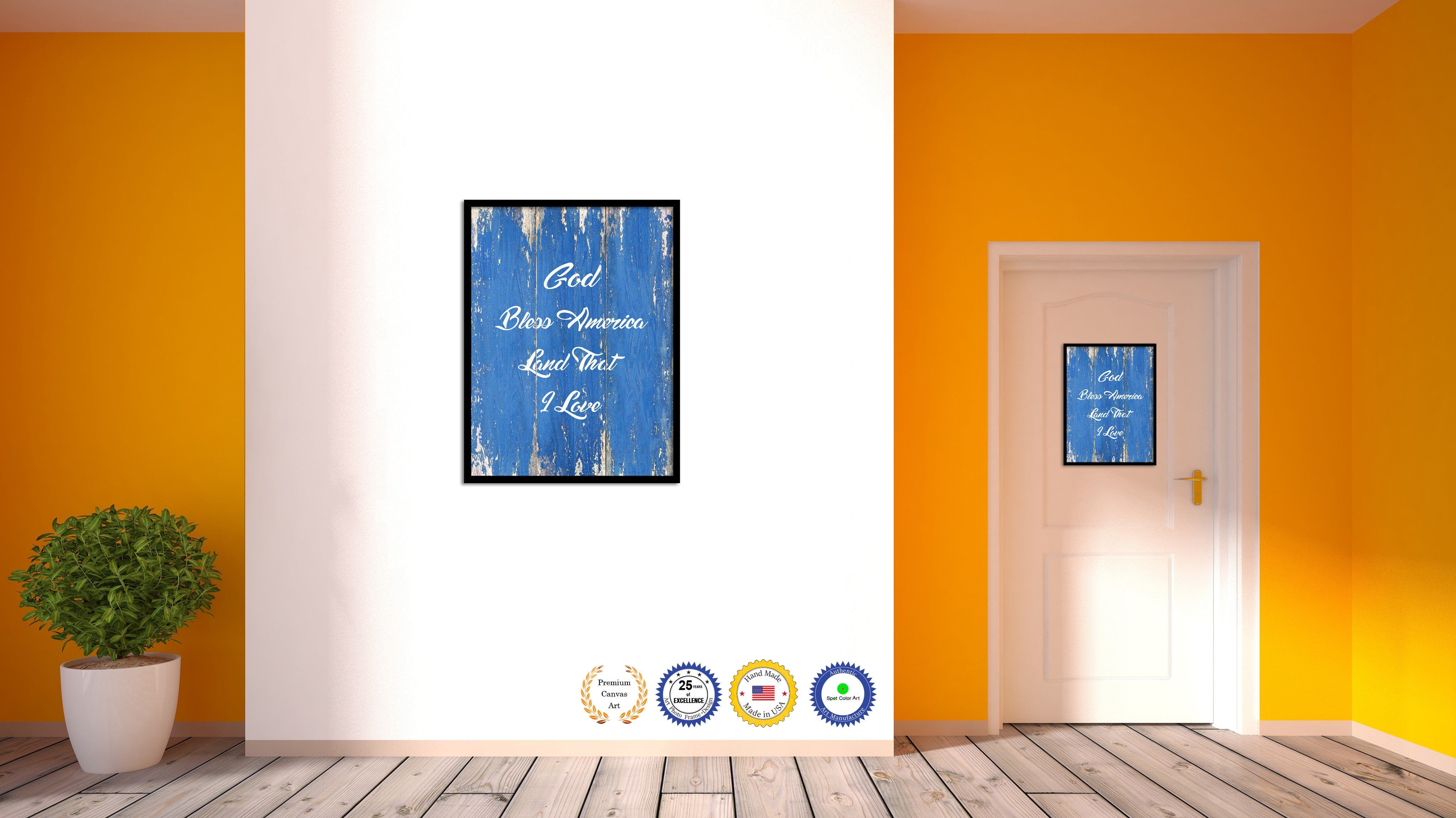 God bless America land that I love Bible Verse Scripture Quote Blue Canvas  Print with Picture Frame
