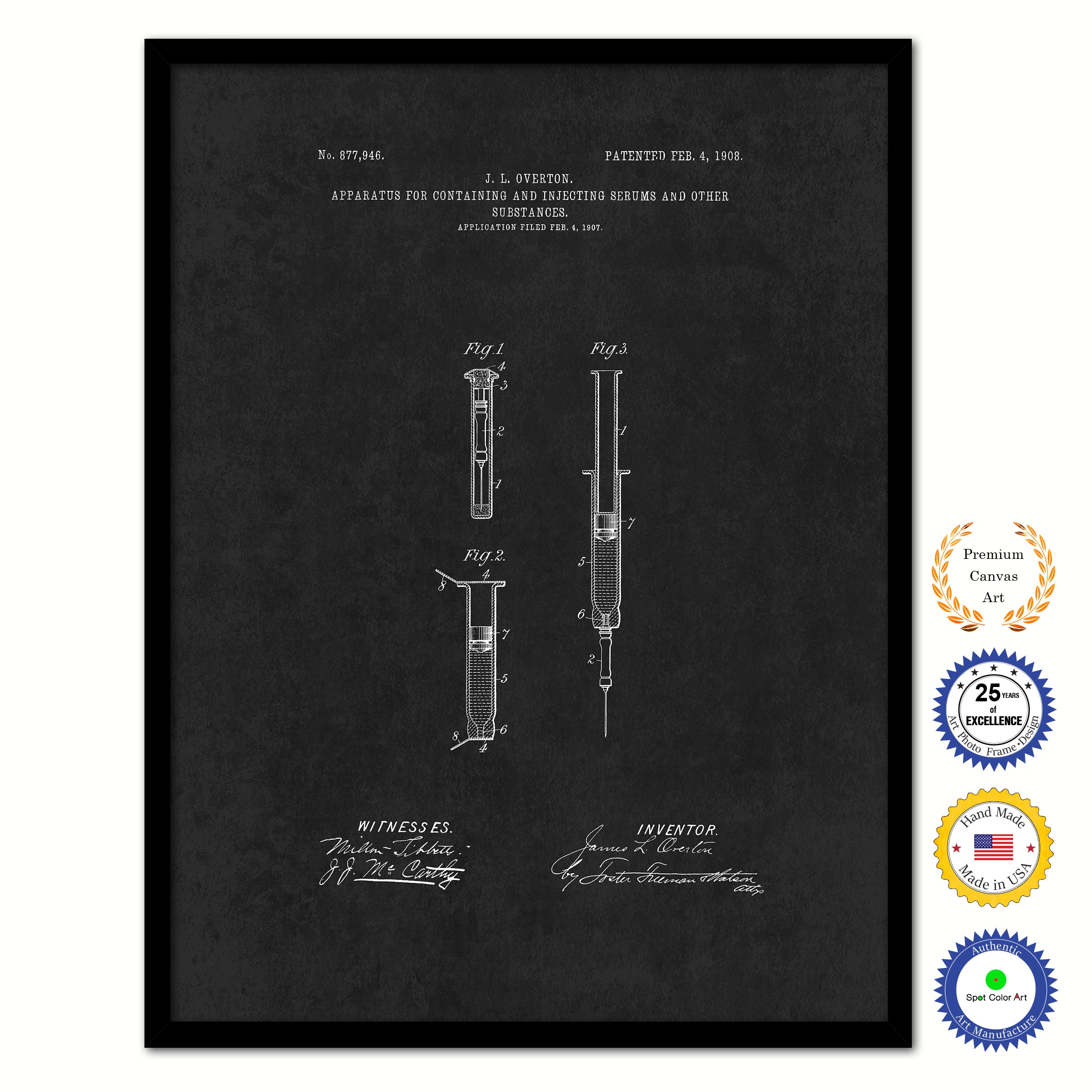 1908 Doctor Syringe Vintage Patent Artwork Black Framed Canvas Home Office Decor Great for Doctor Paramedic Surgeon Hospital Medical Student