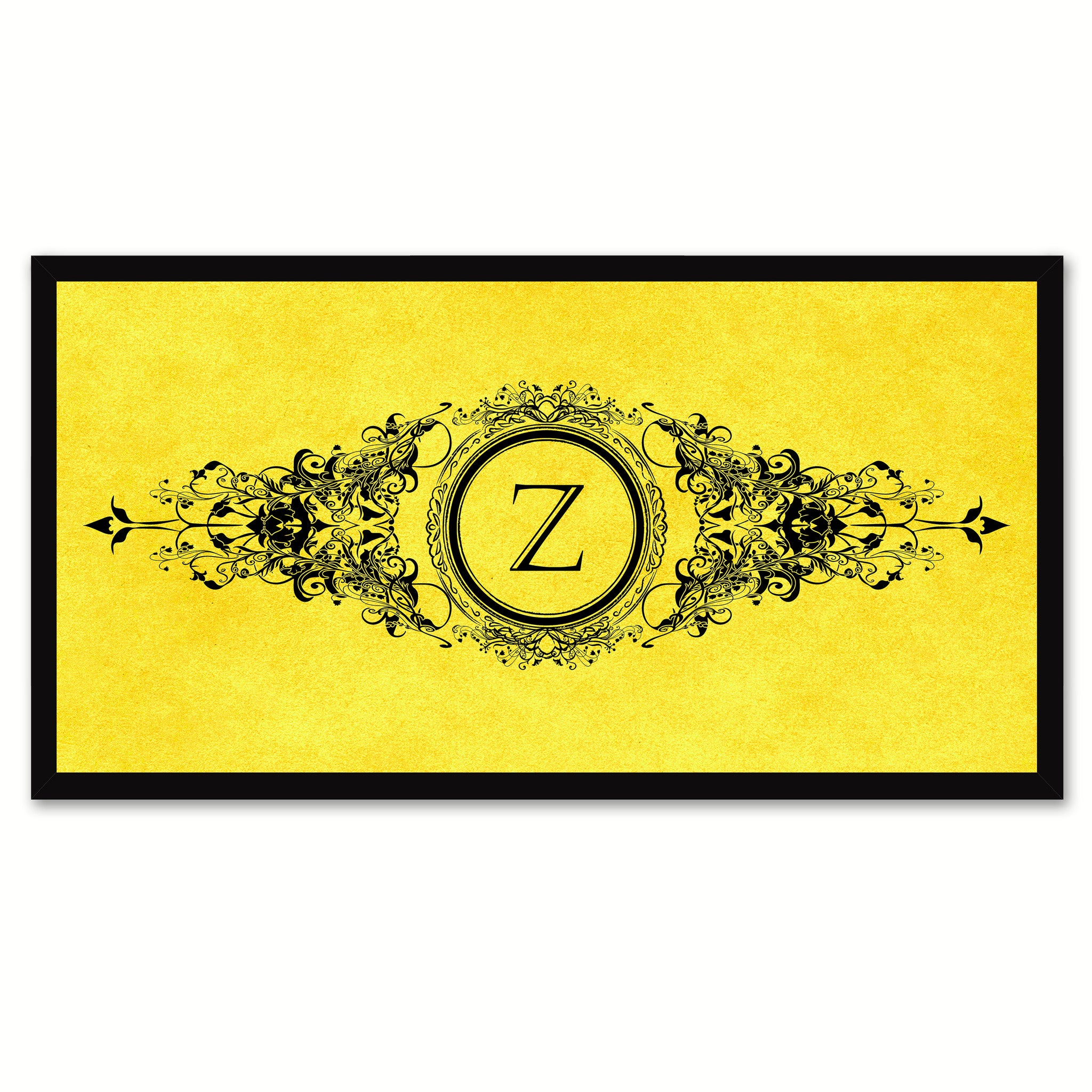 Alphabet Letter Z Yellow Canvas Print, Black Custom Frame