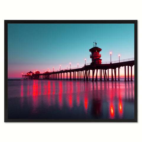Huntington Beach California Pink Landscape Photo Canvas Print Pictures Frames Home Décor Wall Art Gifts