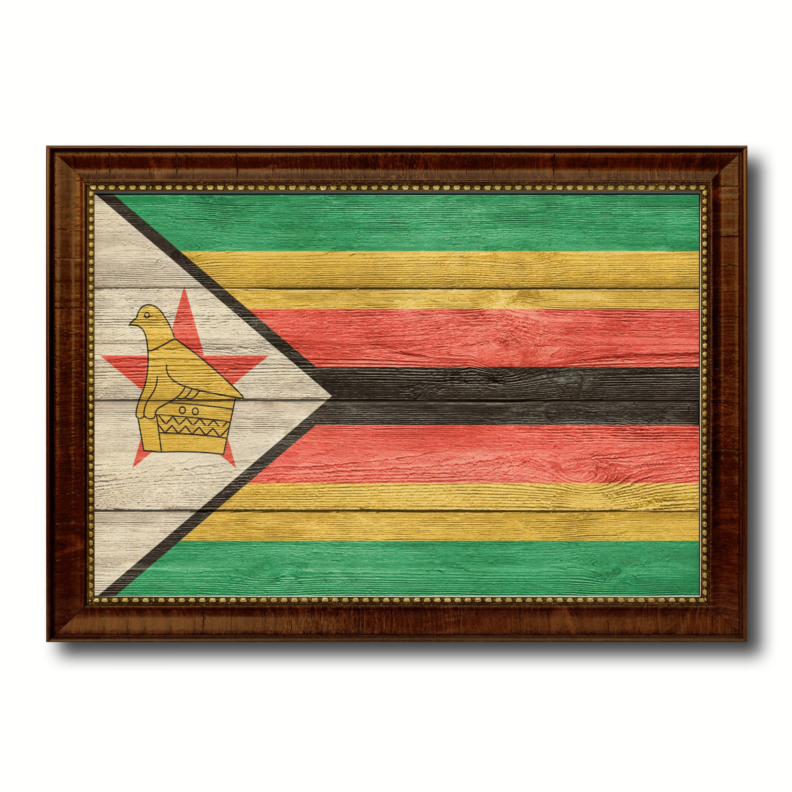Zimbabwe Country Flag Texture Canvas Print with Brown Custom Picture Frame Home Decor Gift Ideas Wall Art Decoration