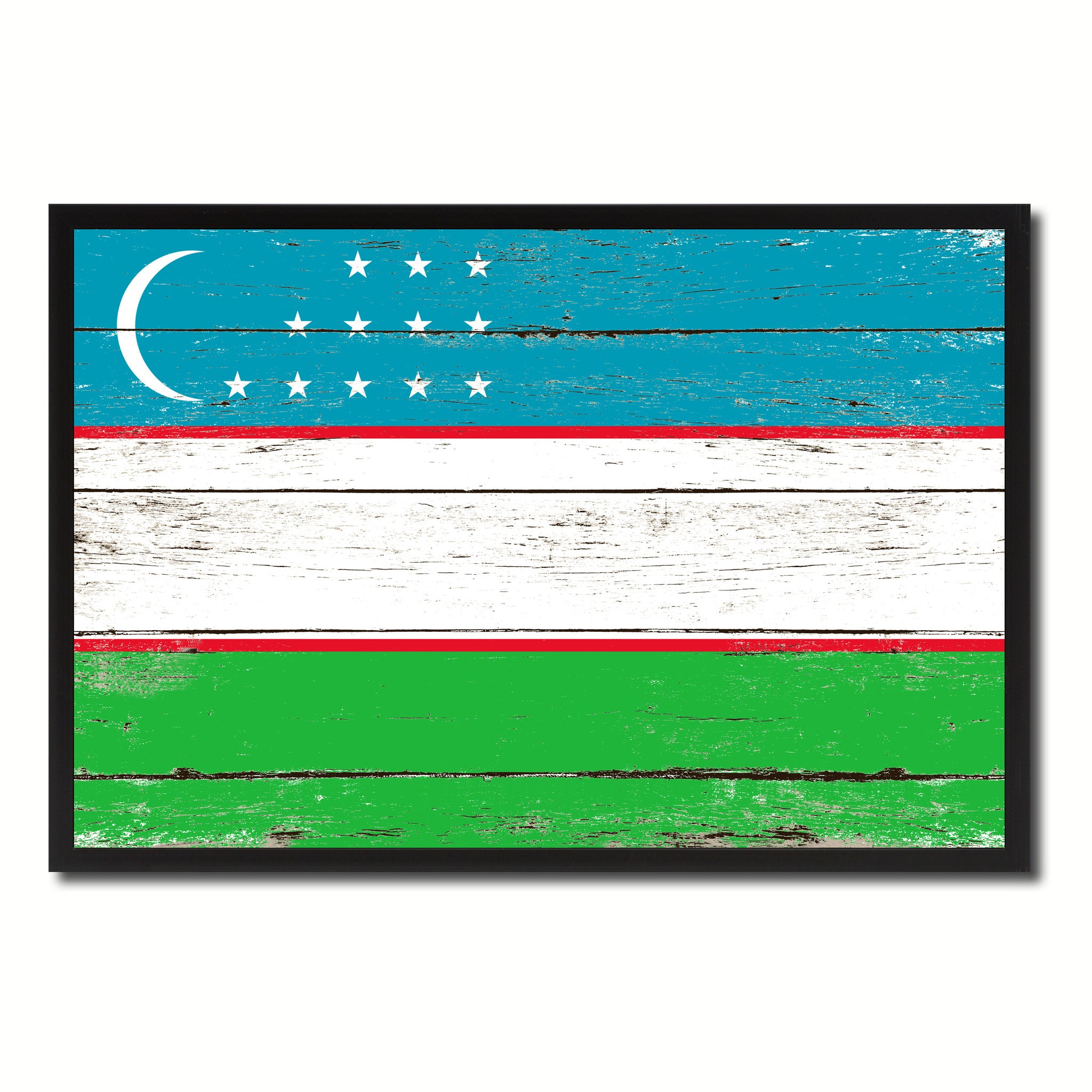 Uzbekistan Country National Flag Vintage Canvas Print with Picture Frame Home Decor Wall Art Collection Gift Ideas