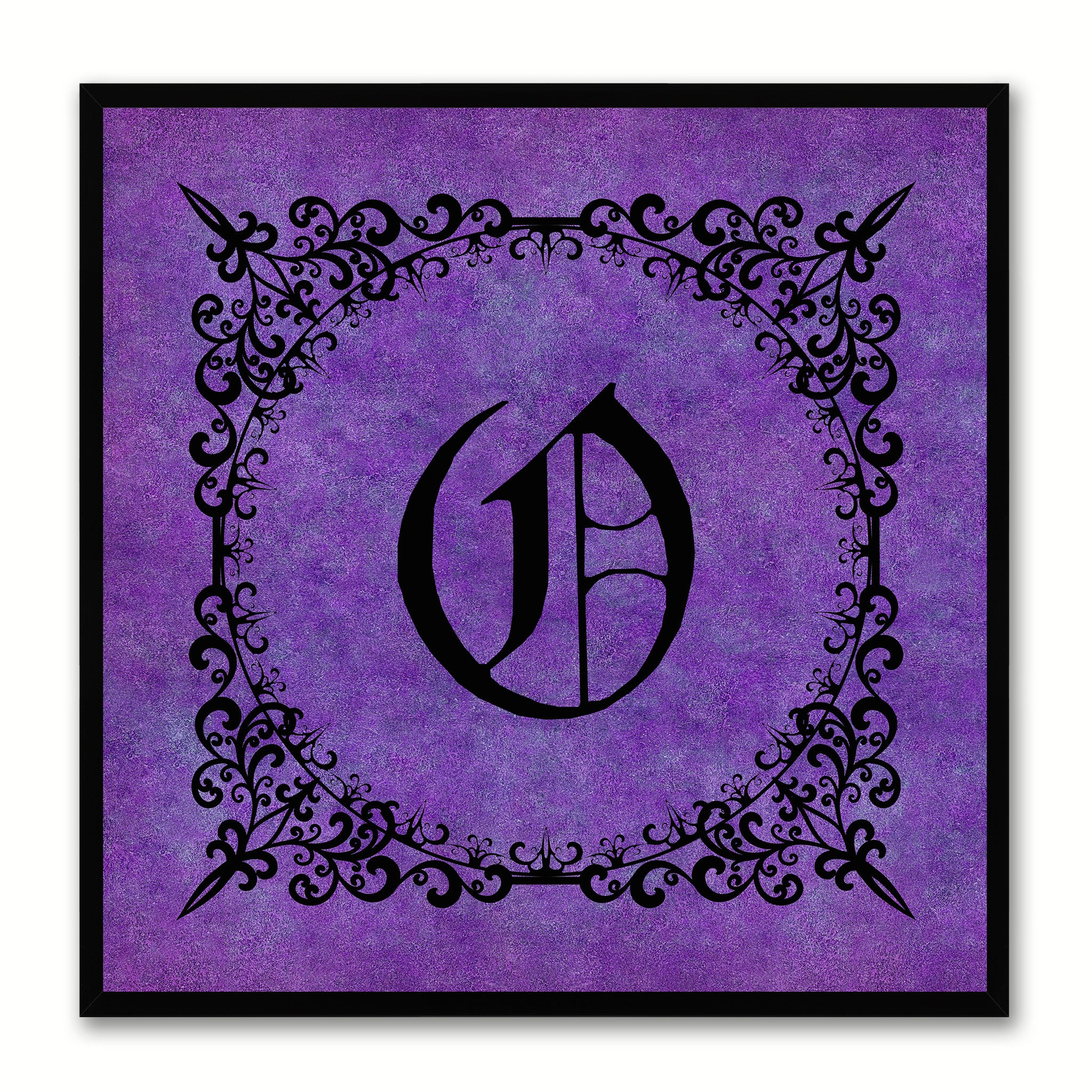 Alphabet O Purple Canvas Print Black Frame Kids Bedroom Wall Décor Home Art
