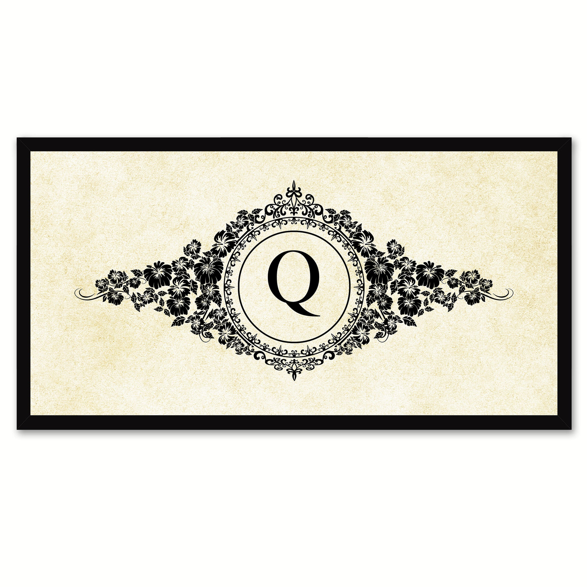 Alphabet Letter Q White Canvas Print, Black Custom Frame