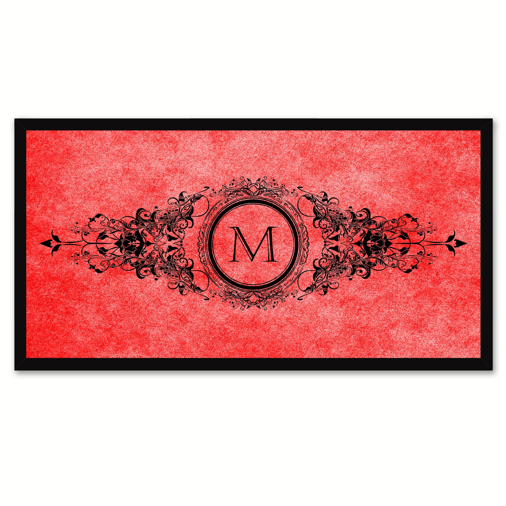 Alphabet Letter M Red Canvas Print, Black Custom Frame