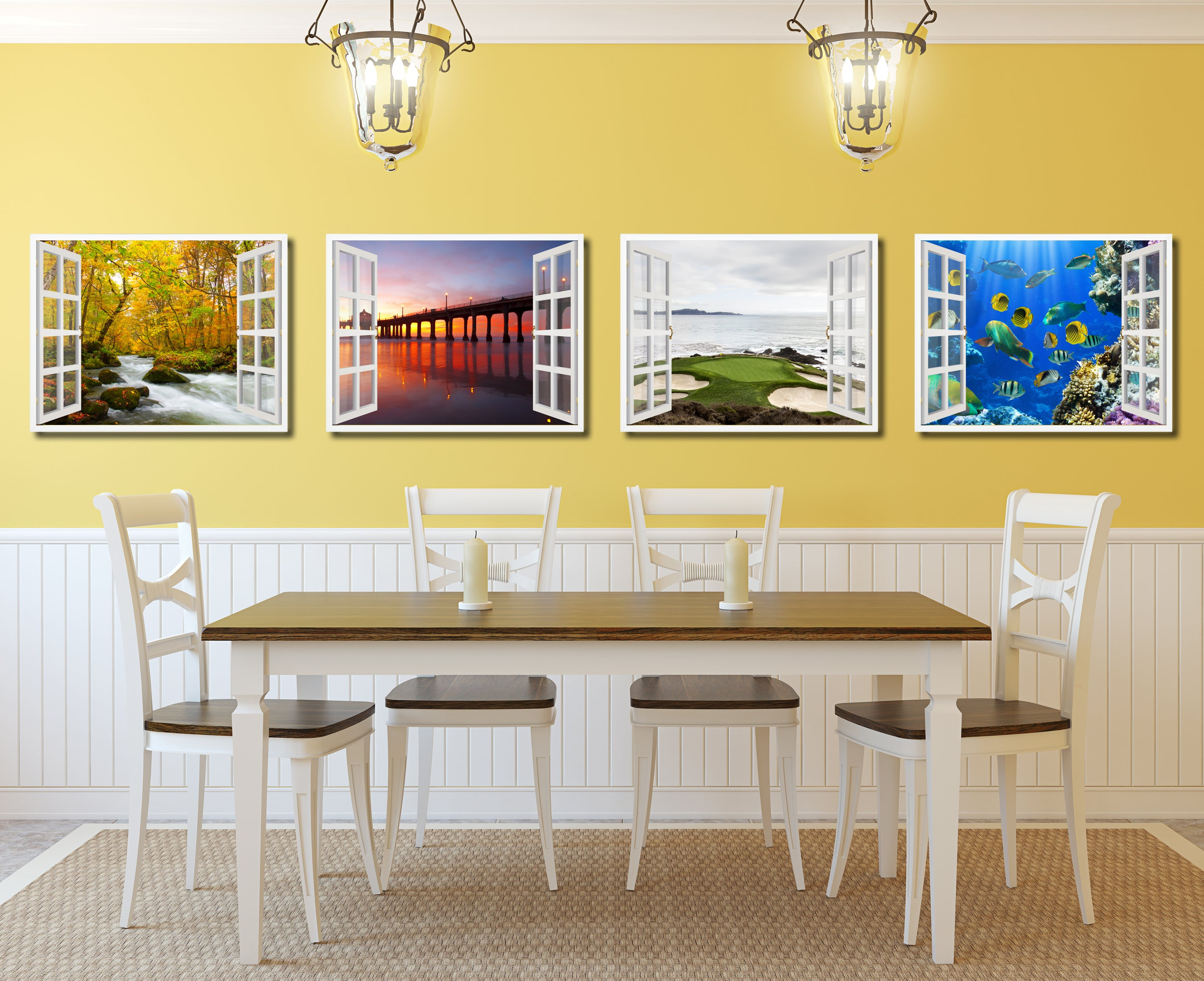 Manhattan Beach California Sunset View Picture French Window Framed Canvas Print Home Decor Wall Art Collection