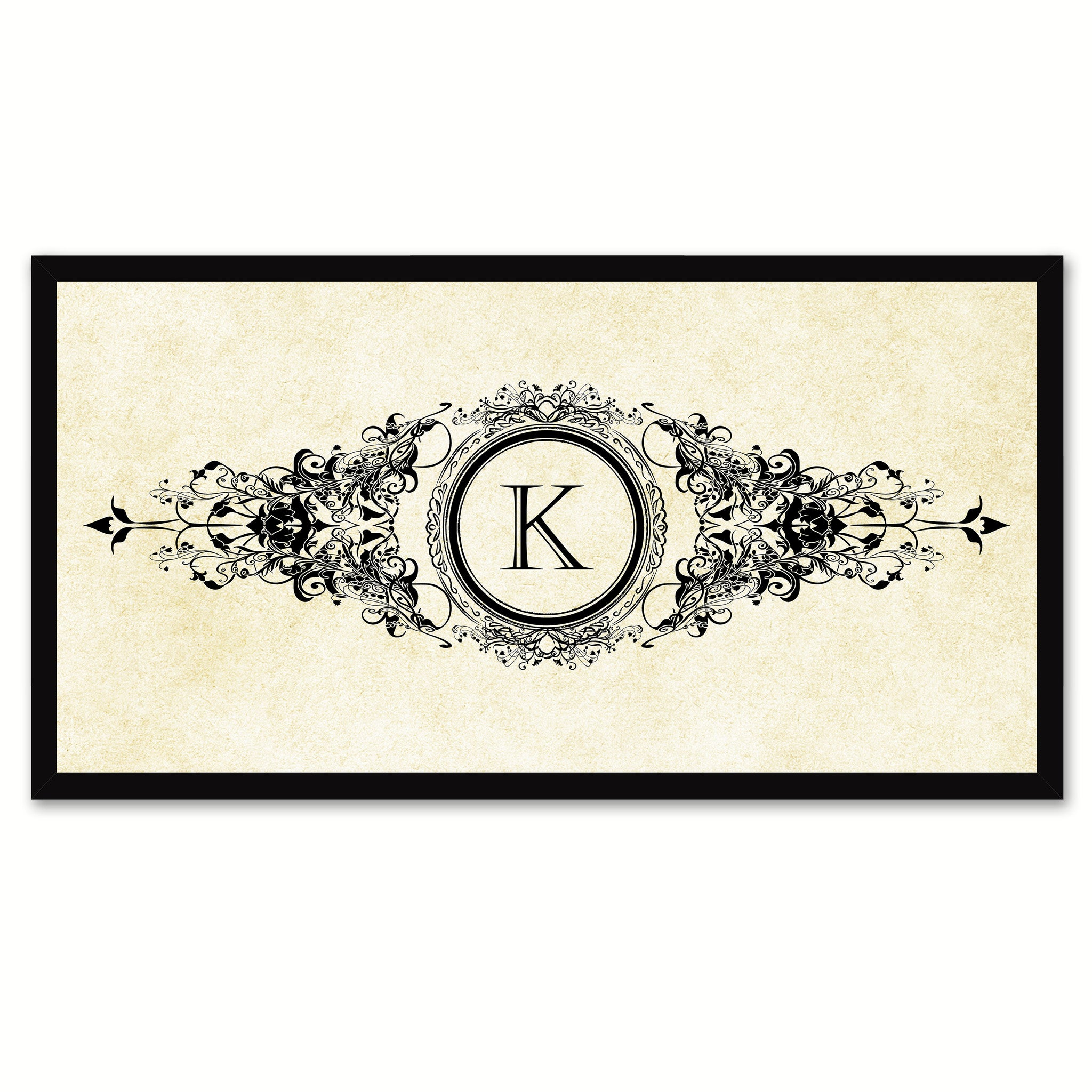 Alphabet Letter K White Canvas Print, Black Custom Frame