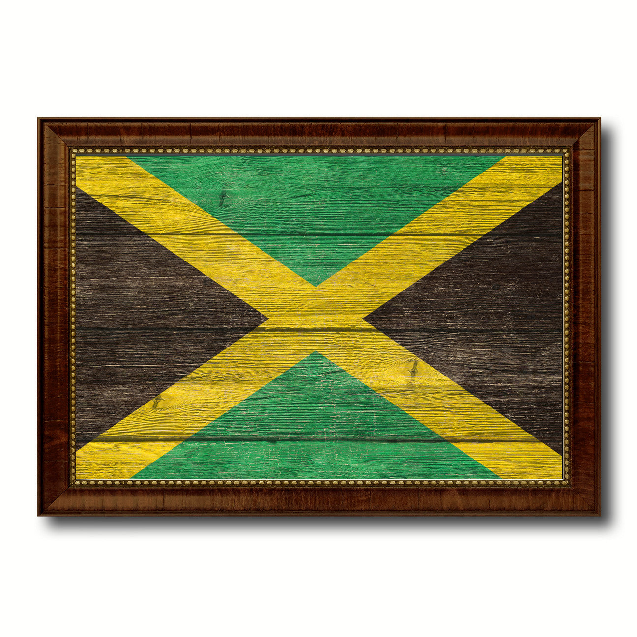 Jamaica Country Texture Flag Rustic Vintage Giclee Print Home Decor
