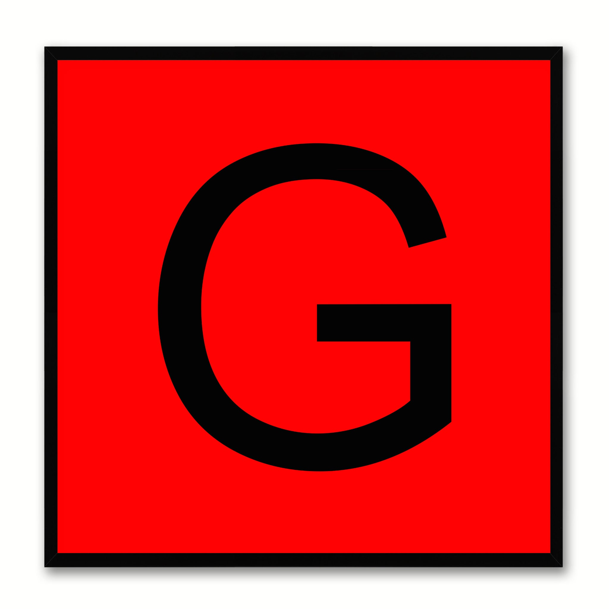 Alphabet G Red Canvas Print Black Frame Kids Bedroom Wall Décor Home Art