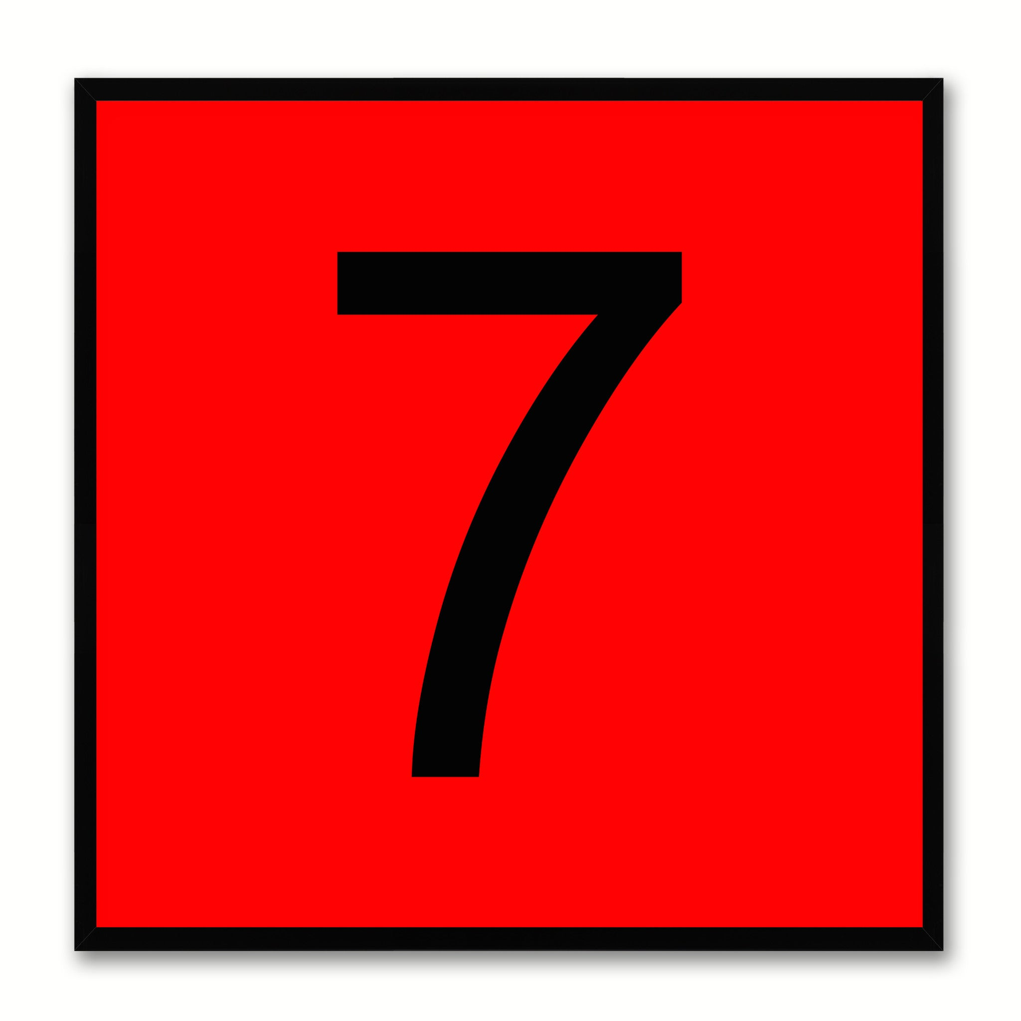Number 7 Red Canvas Print Black Frame Kids Bedroom Wall Décor Home Art