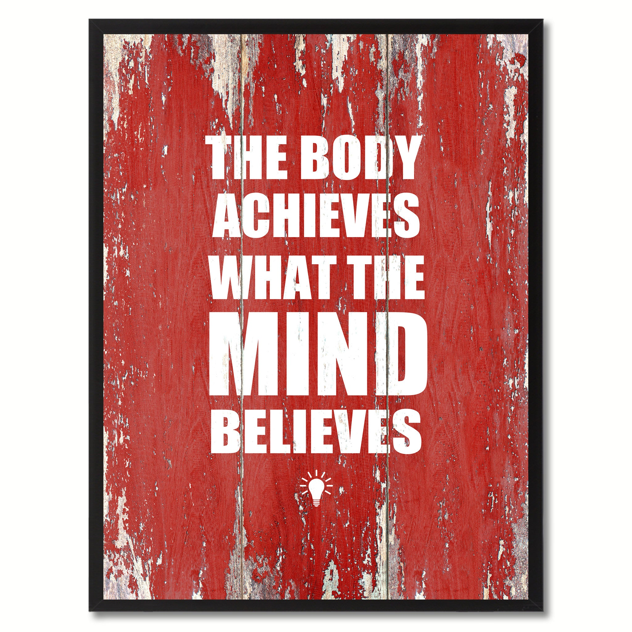 The Body Achieves What The Mind Believes Saying Canvas Print, Black Picture Frame Home Decor Wall Art Gifts