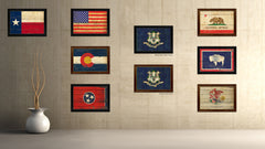 Connecticut State Vintage Flag Canvas Print with Black Picture Frame Home Decor Man Cave Wall Art Collectible Decoration Artwork Gifts