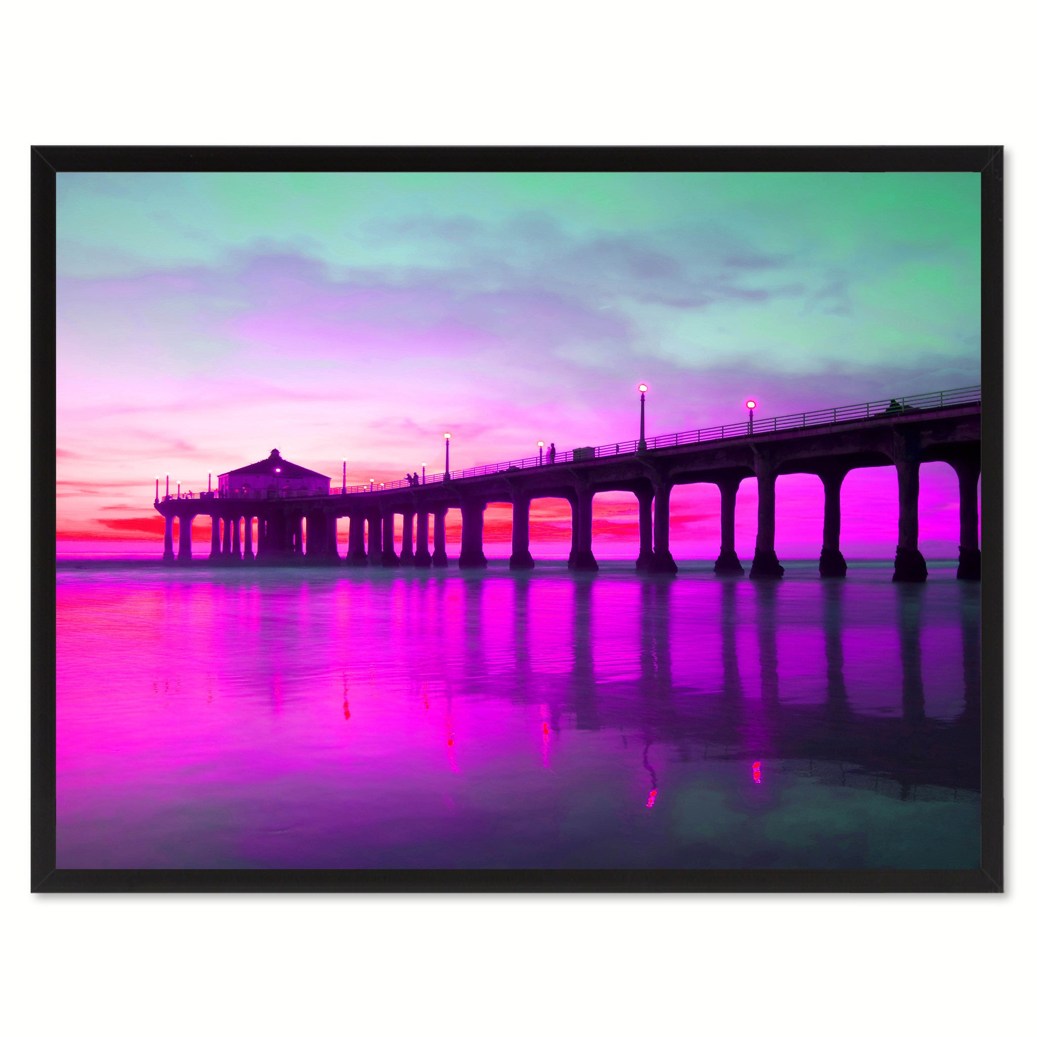 Manhattan Beach California Pink Landscape Photo Canvas Print Pictures Frames Home Décor Wall Art Gifts