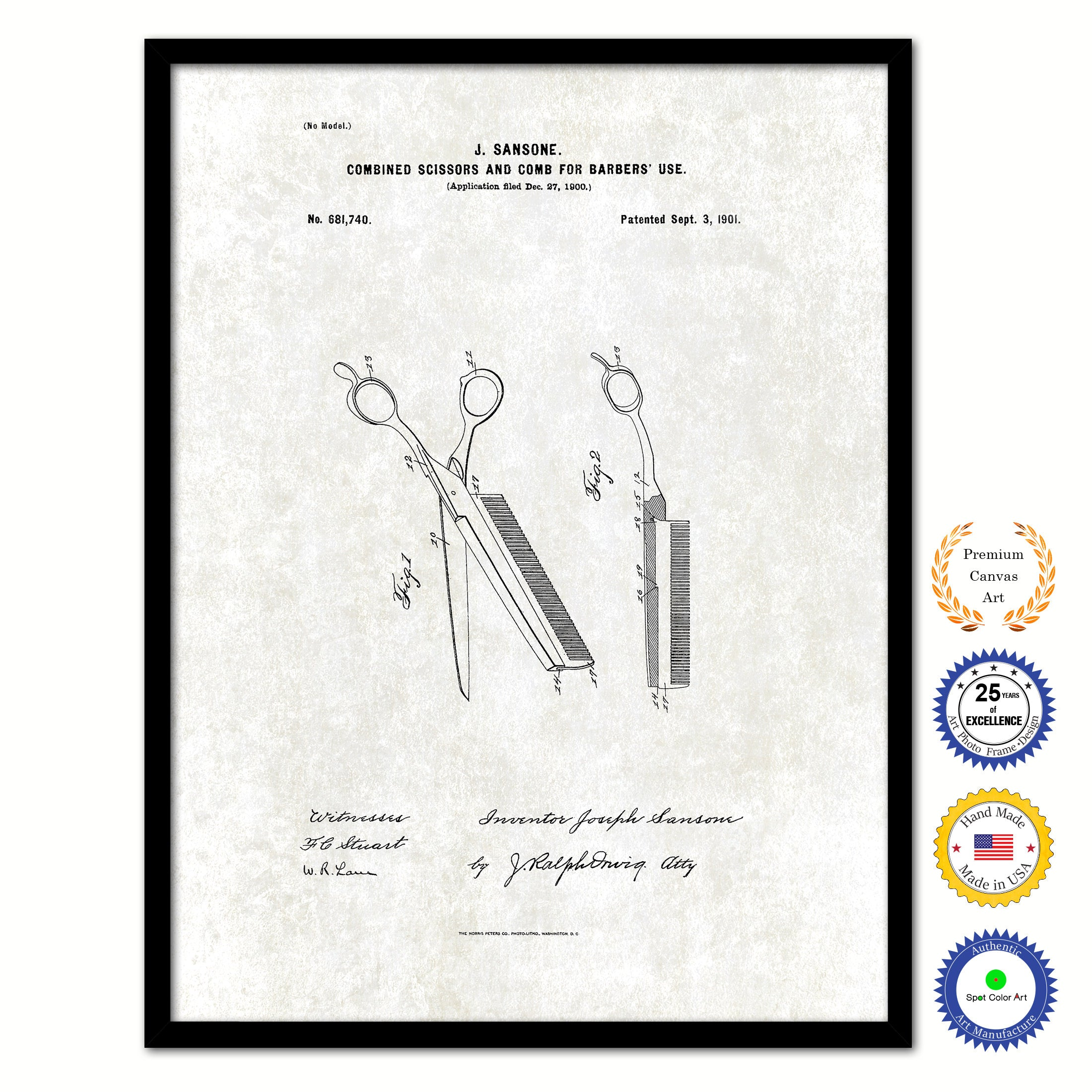 1901 Combined Scissors and Comb for Barbers Use Vintage Patent Artwork Black Framed Canvas Print Home Office Decor Great Gift for Barber Salon Hair Stylist
