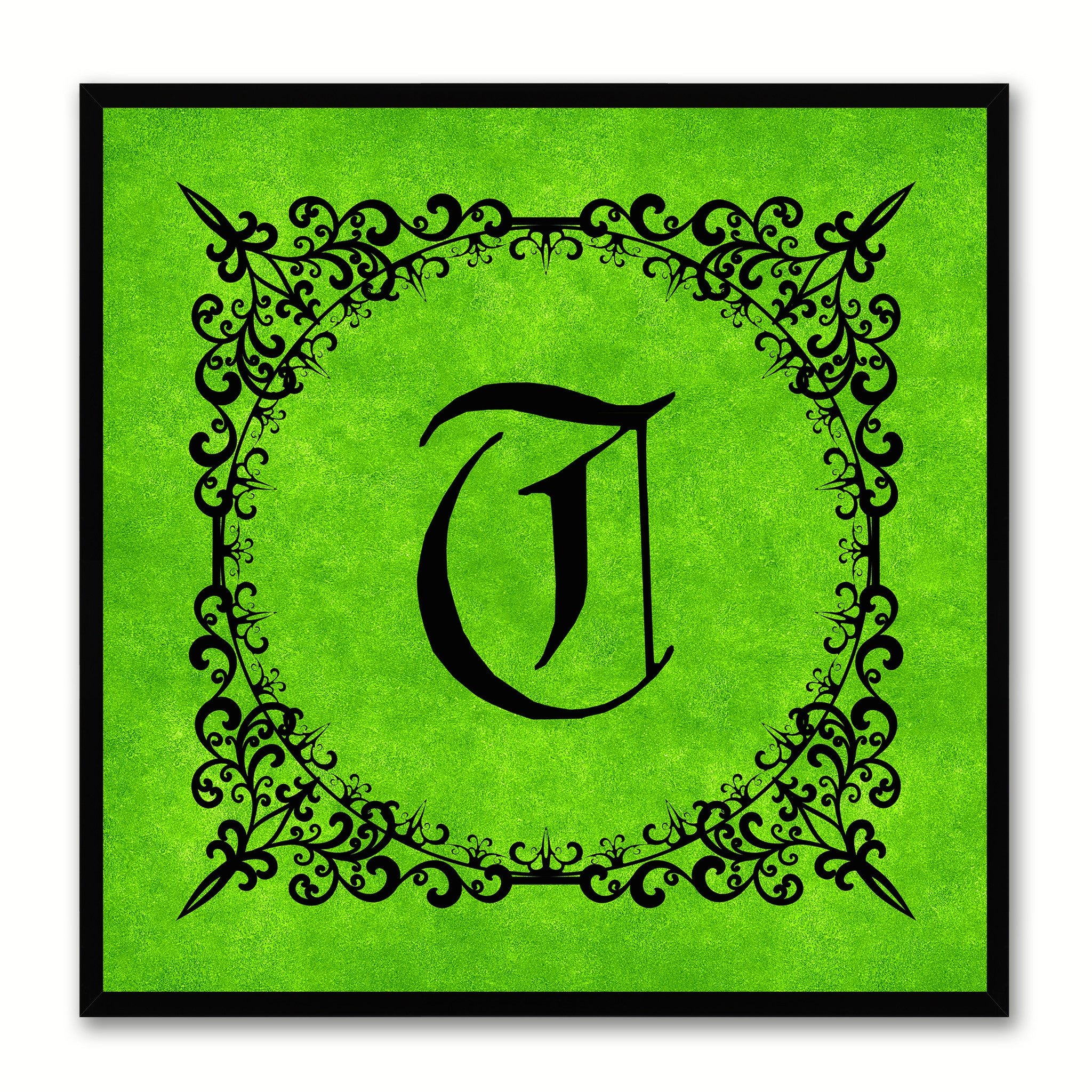Alphabet T Green Canvas Print Black Frame Kids Bedroom Wall Décor Home Art