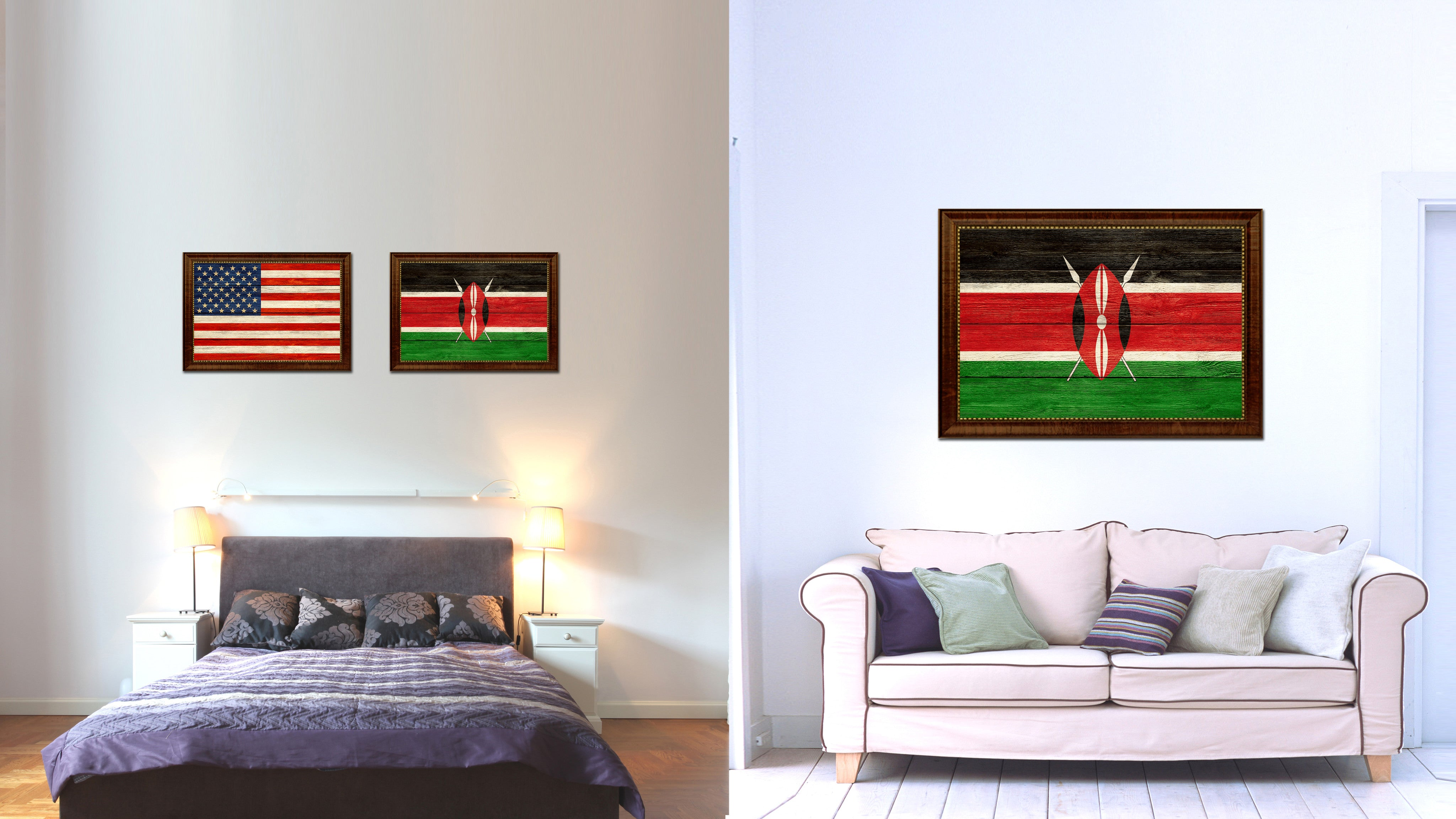 Kenya Country Texture Flag Rustic Vintage Giclee Print Home Decor