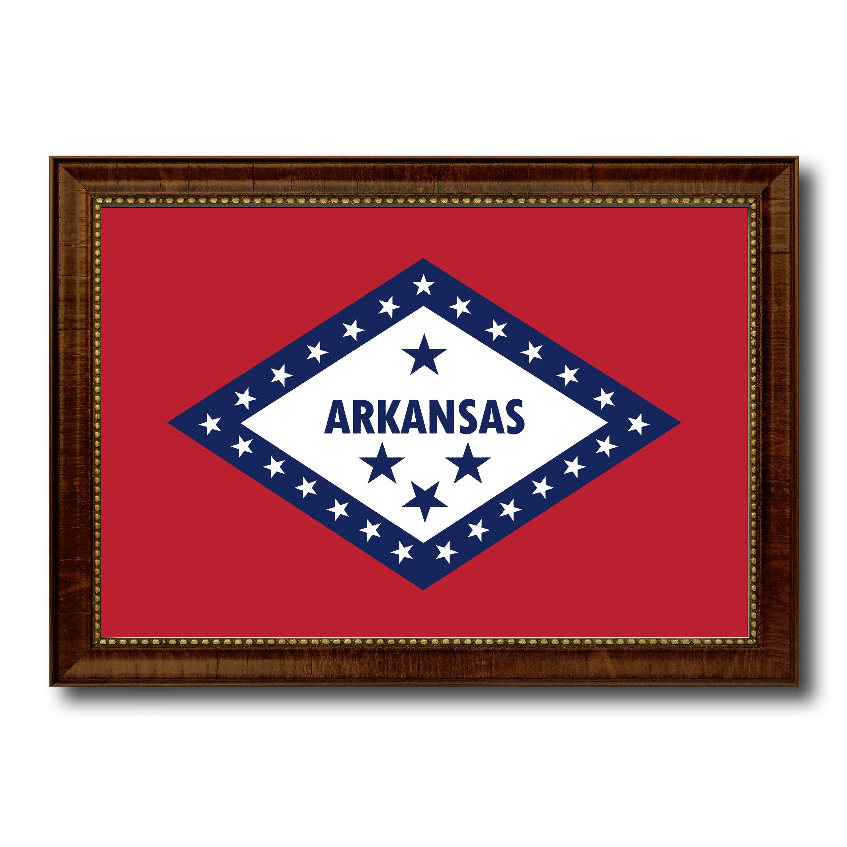 Arkansas State Flag Canvas Print with Custom Brown Picture Frame Home Decor Wall Art Decoration Gifts