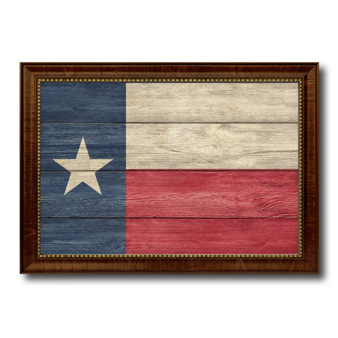 Texas State Flag Texture Canvas Print with Brown Picture Frame Gifts Home Decor Wall Art Collectible Decoration
