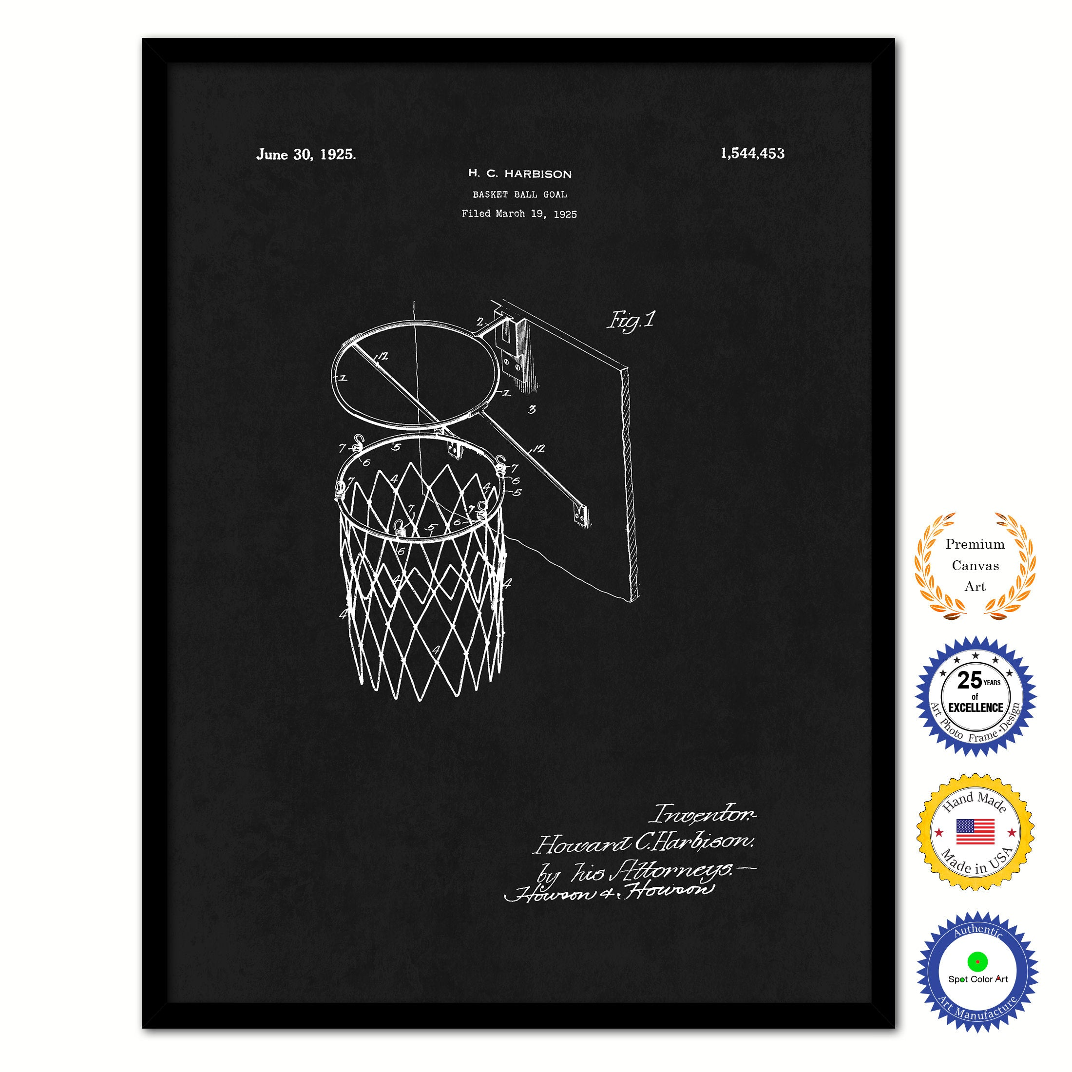 1925 Basket Ball Goal Old Patent Art Print on Canvas Custom Framed Vintage Home Decor Wall Decoration Great for Gifts