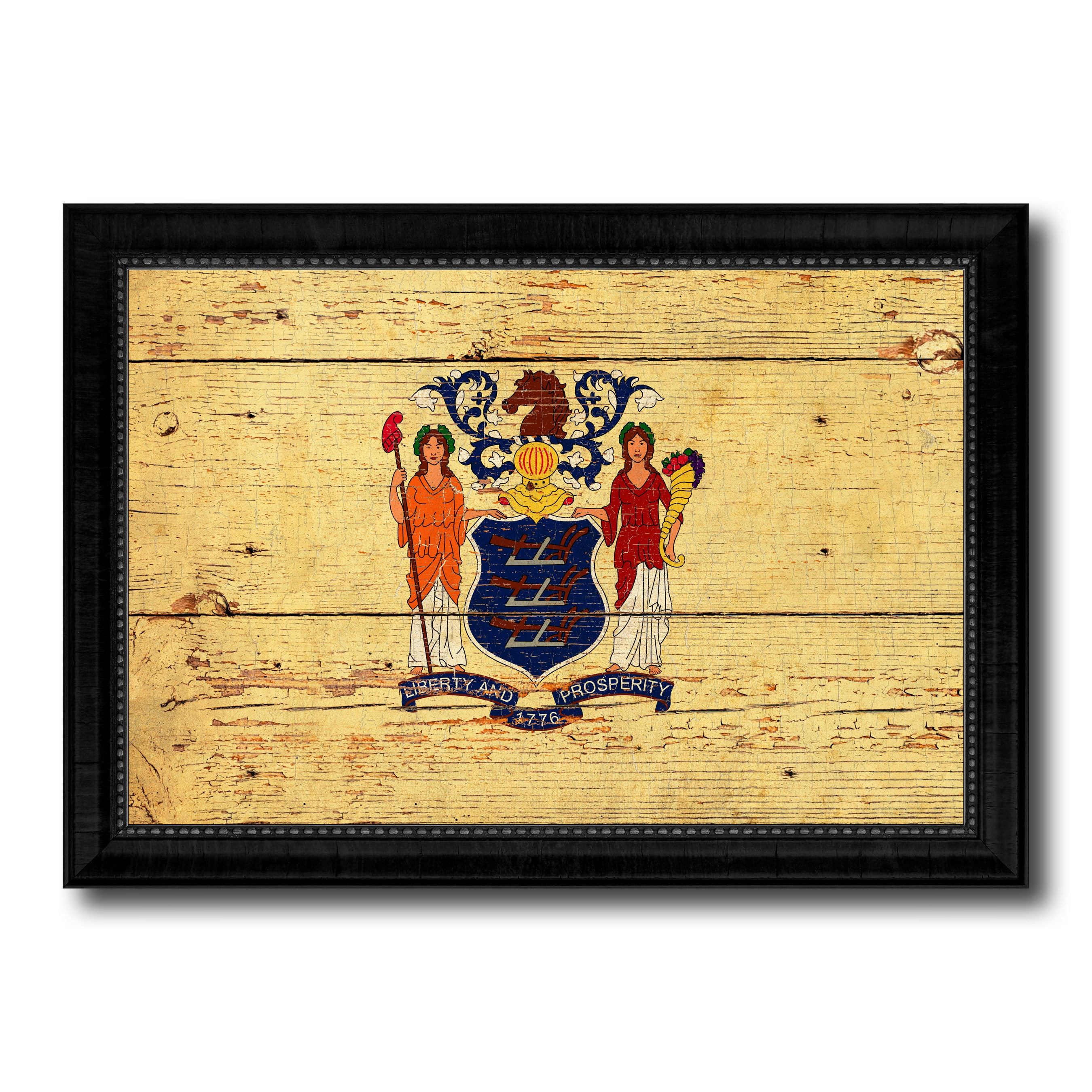 New Jersey State Vintage Flag Canvas Print with Black Picture Frame ...