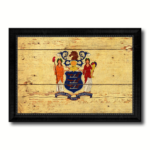 New Jersey State Vintage Flag Canvas Print with Black Picture Frame Home Decor Man Cave Wall Art Collectible Decoration Artwork Gifts