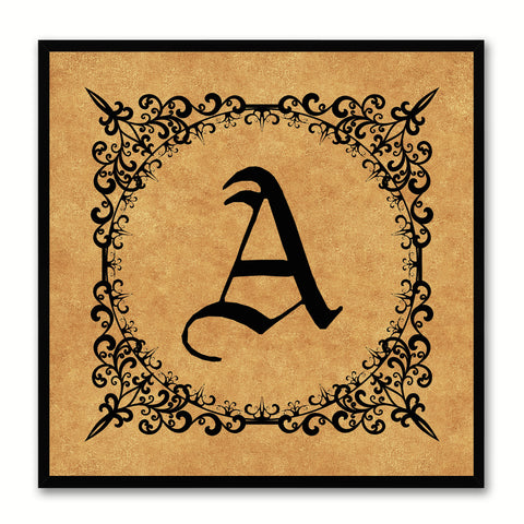 Alphabet A Brown Canvas Print Black Frame Kids Bedroom Wall Décor Home Art