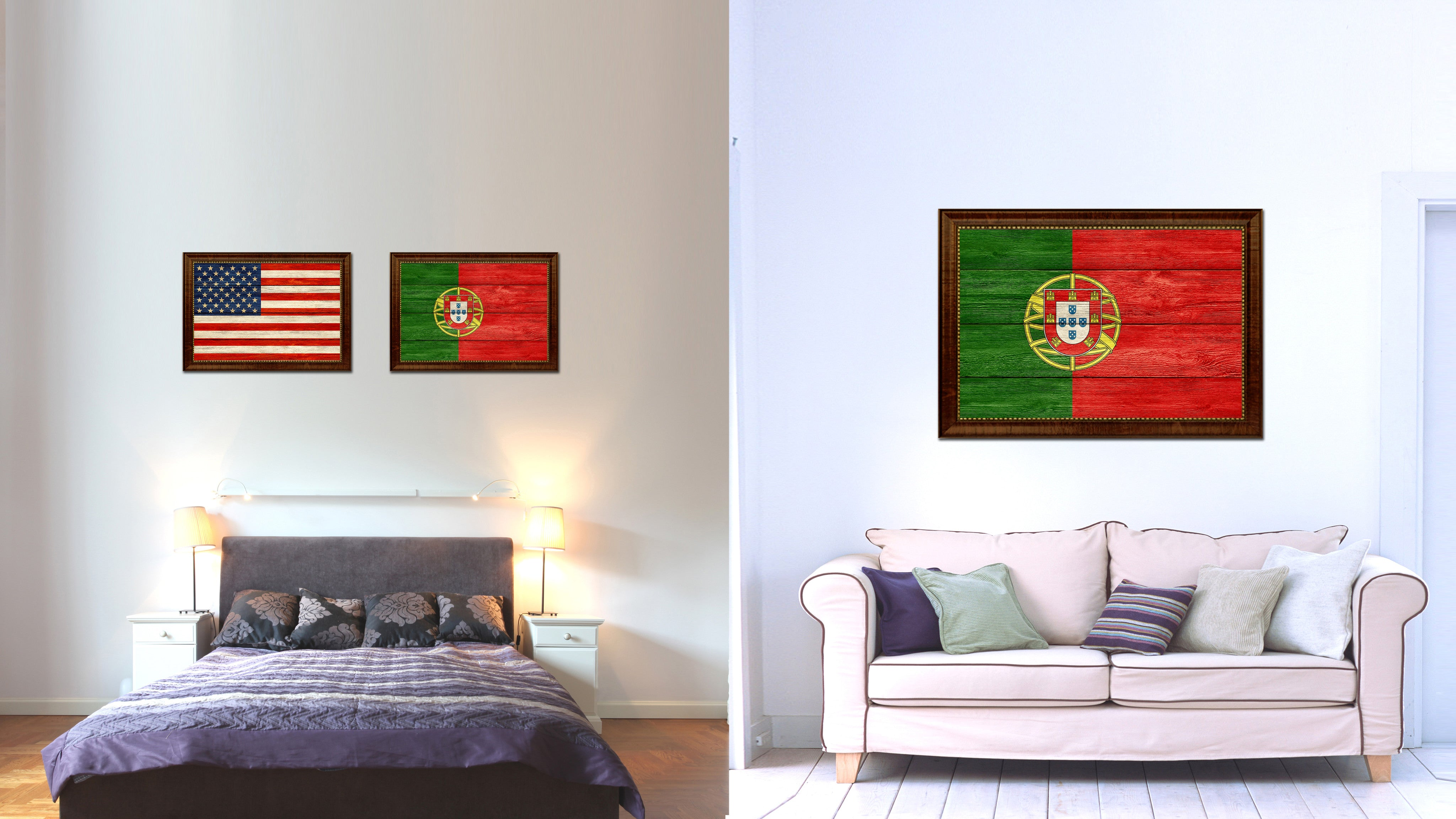Portugal Country Flag Texture Canvas Print with Brown Custom Picture Frame Home Decor Gift Ideas Wall Art Decoration