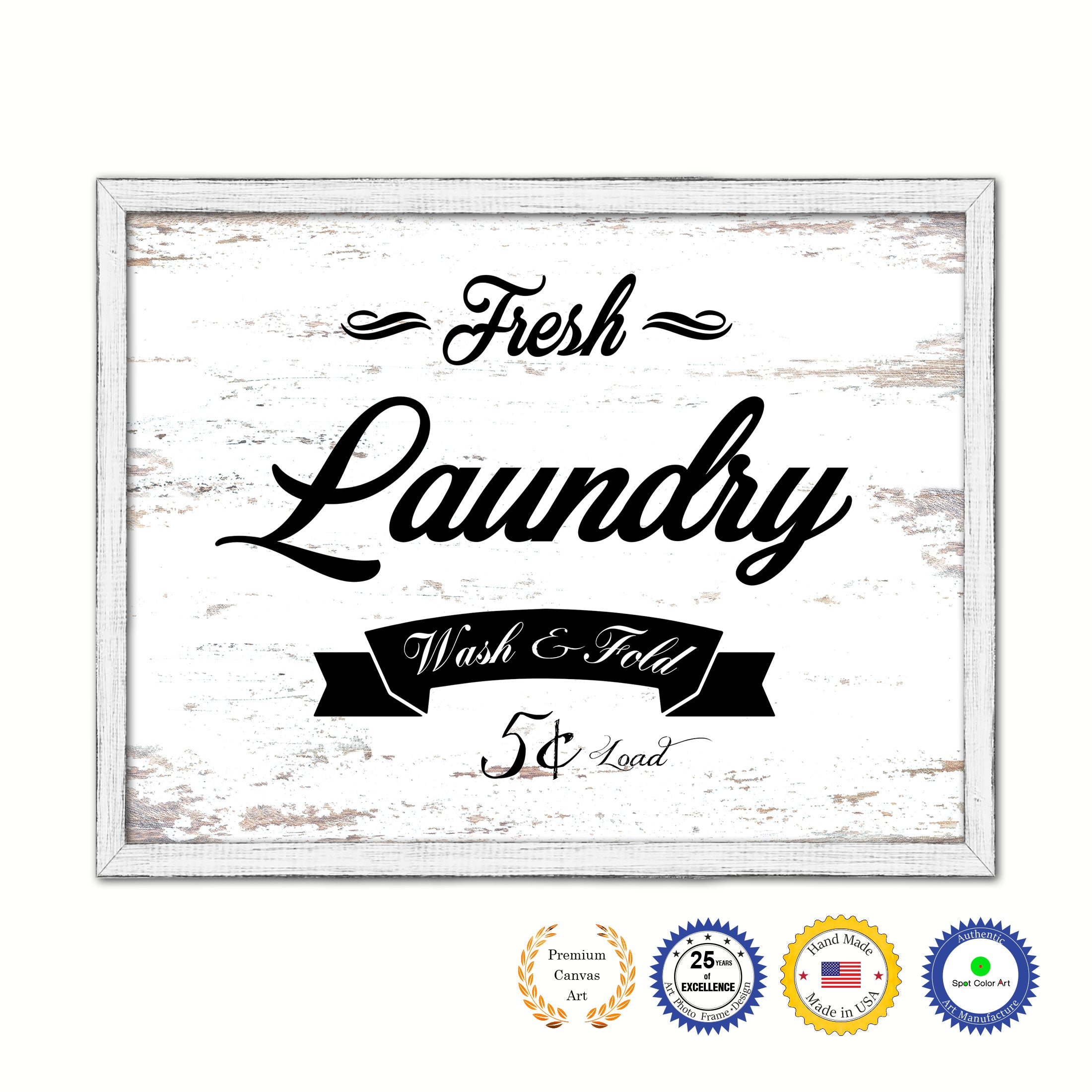 Fresh Laundry Vintage Sign Gifts Home Decor Wall Art Canvas Print with Custom Picture Frame