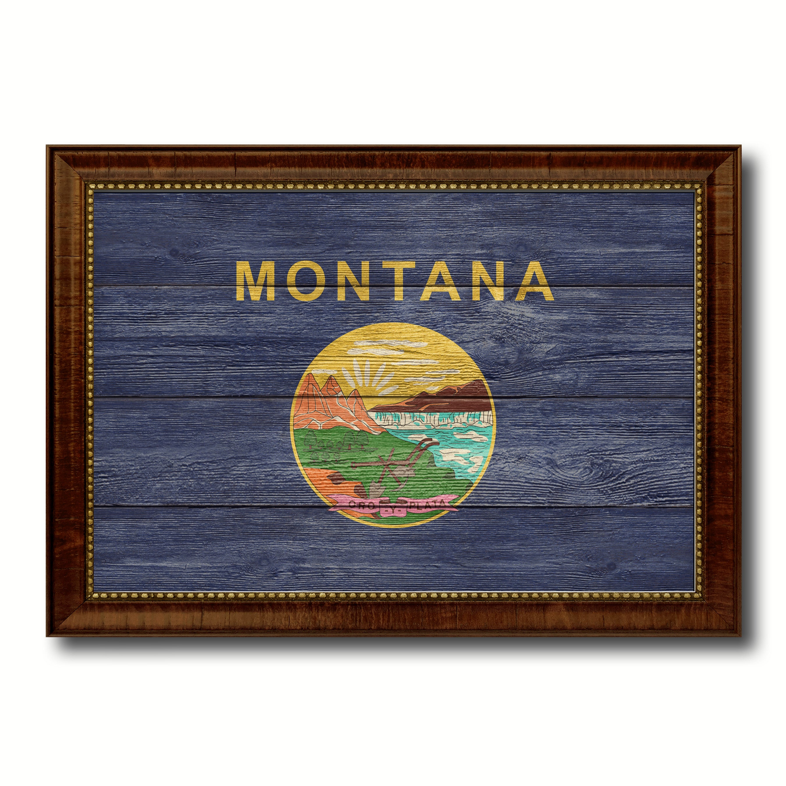 Montana State Flag Texture Canvas Print with Brown Picture Frame Gifts Home  Decor Wall Art Collectible Decoration
