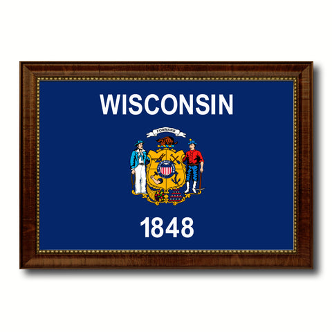 Wisconsin State Flag Canvas Print with Custom Brown Picture Frame Home Decor Wall Art Decoration Gifts