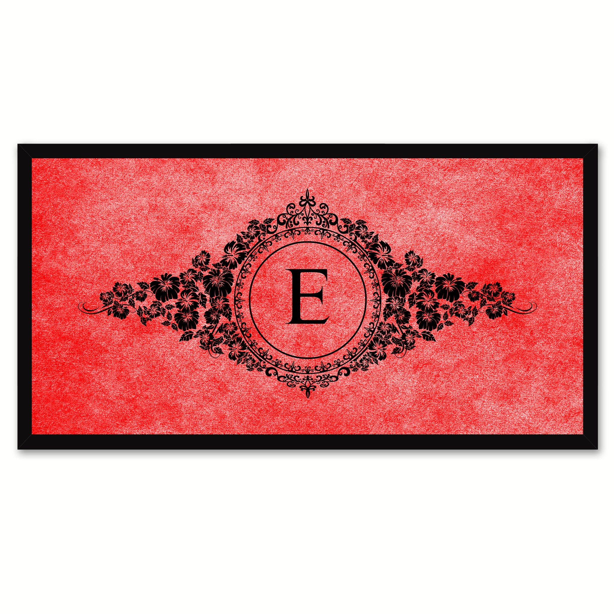 Alphabet Letter E Red Canvas Print, Black Custom Frame