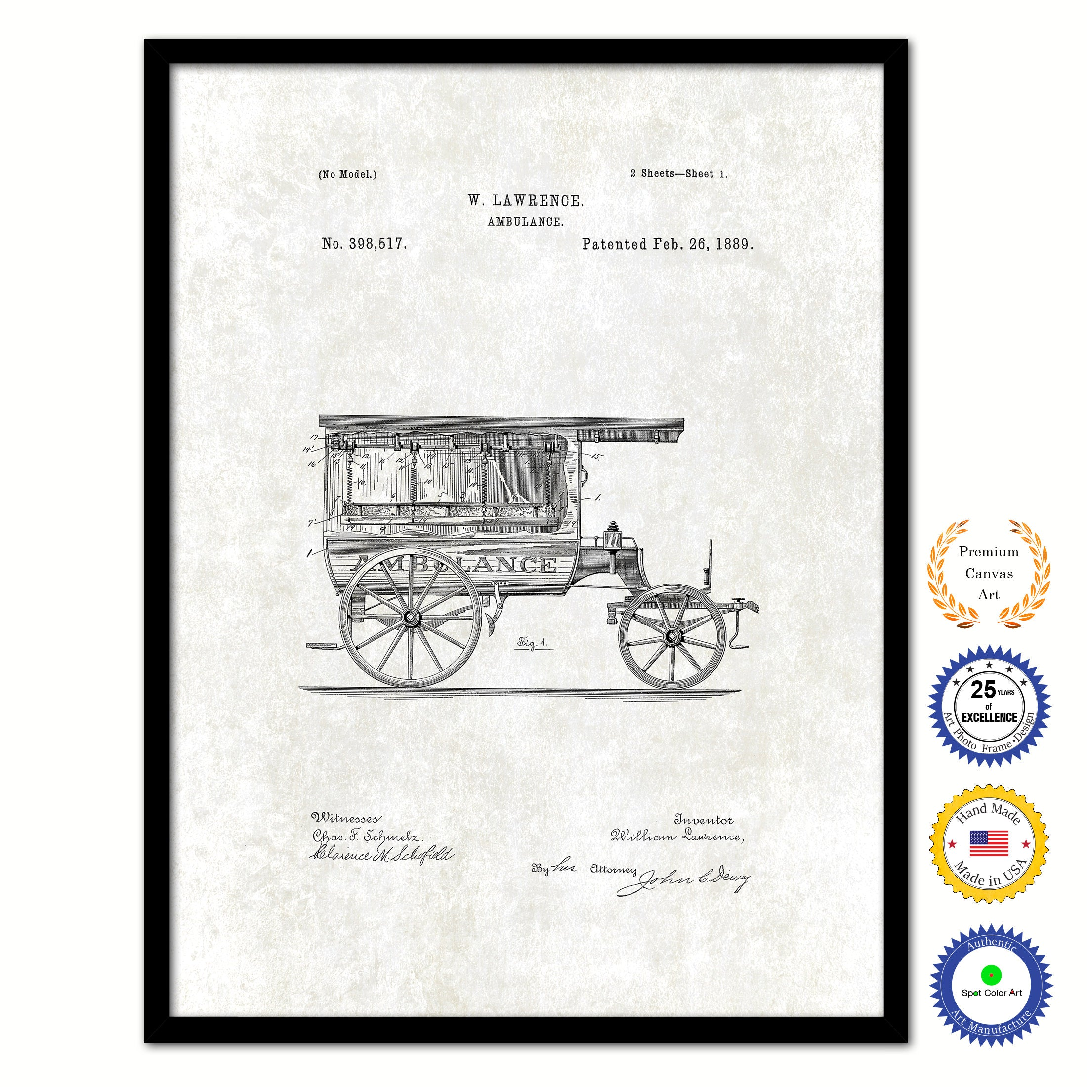 1889 Doctor Ambulance Vintage Patent Artwork Black Framed Canvas Print Home Office Decor Great for Doctor Paramedic Surgeon Hospital Medical Student
