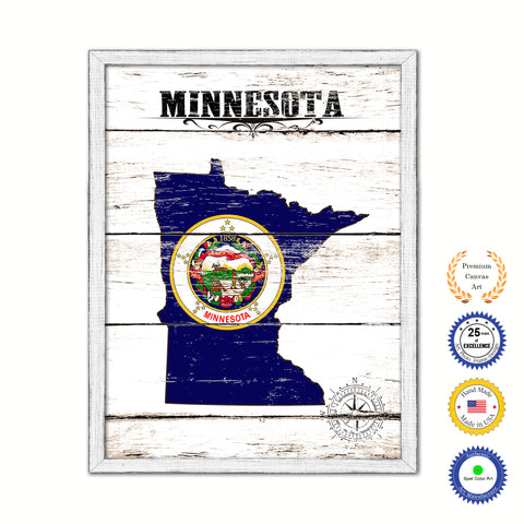 Minnesota Flag Gifts Home Decor Wall Art Canvas Print with Custom Picture Frame