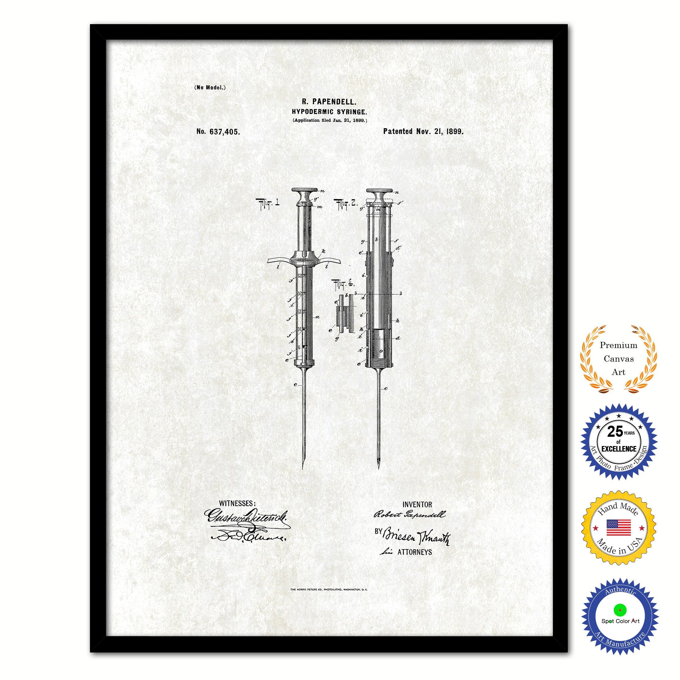 1899 Doctor Hypodermic Syringe Vintage Patent Artwork Black Framed Canvas Print Home Office Decor Great for Doctor Paramedic Surgeon Hospital Medical Student
