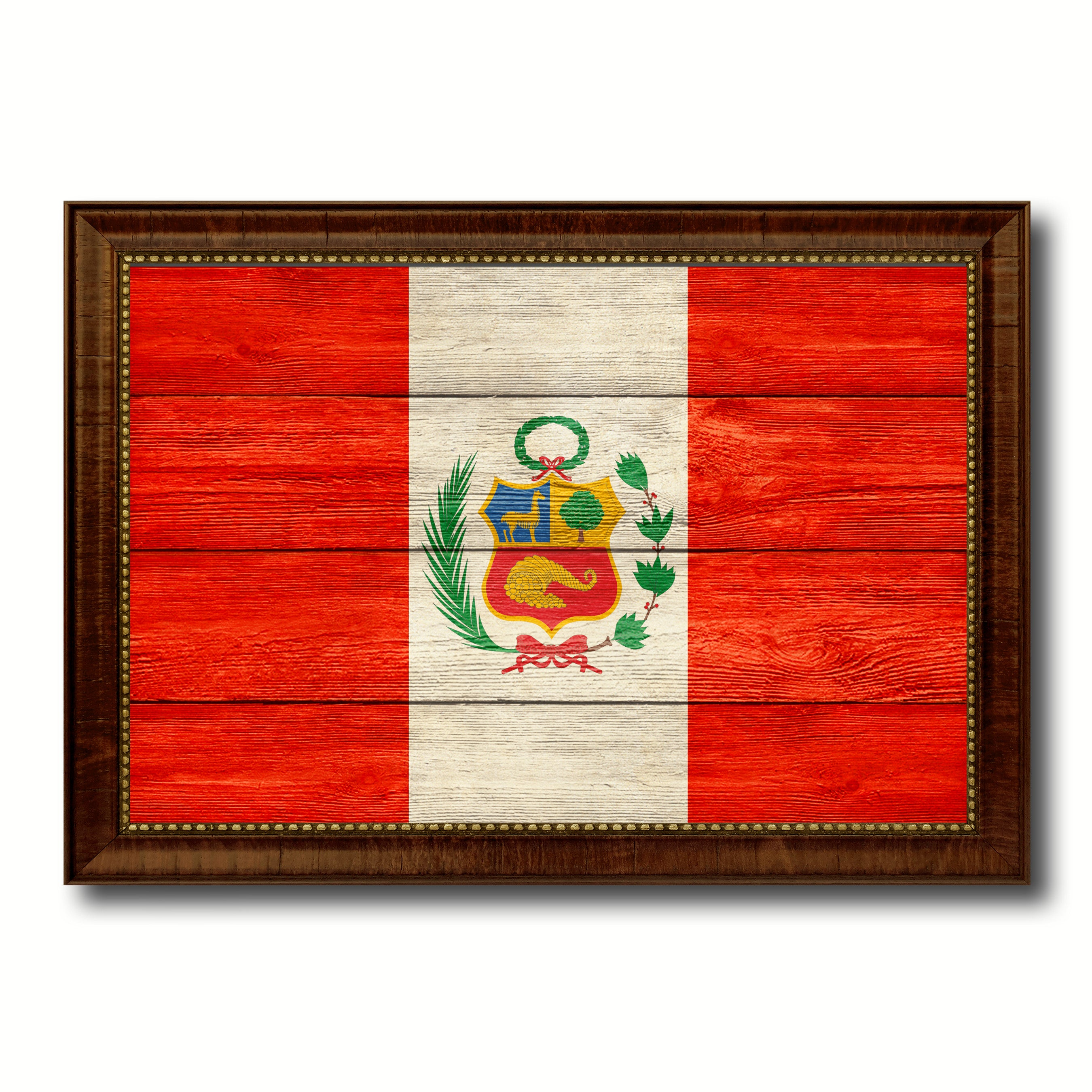 Peru Country Flag Texture Canvas Print with Brown Custom Picture Frame Home Decor Gift Ideas Wall Art Decoration