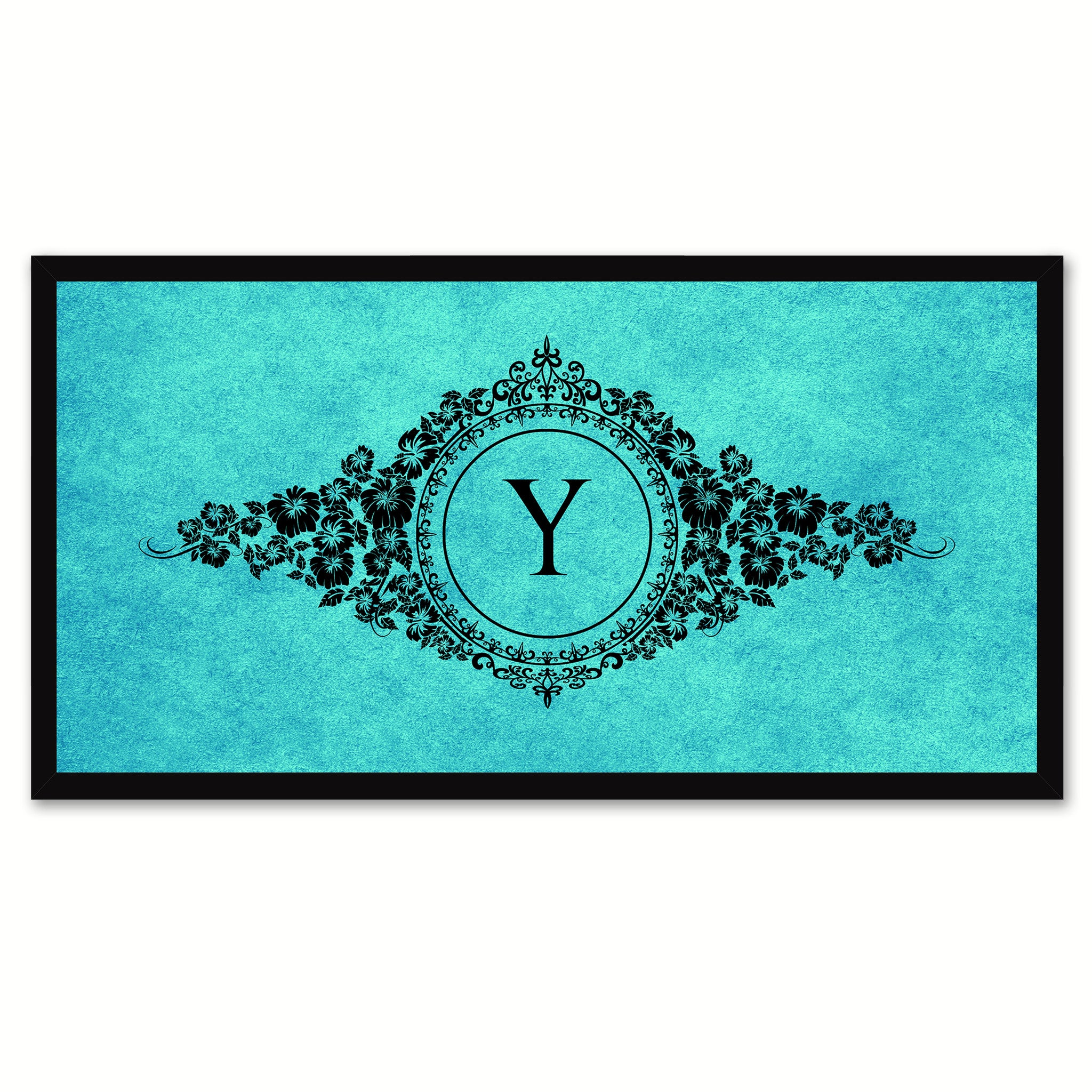 Alphabet Letter Y Auqa Canvas Print, Black Custom Frame