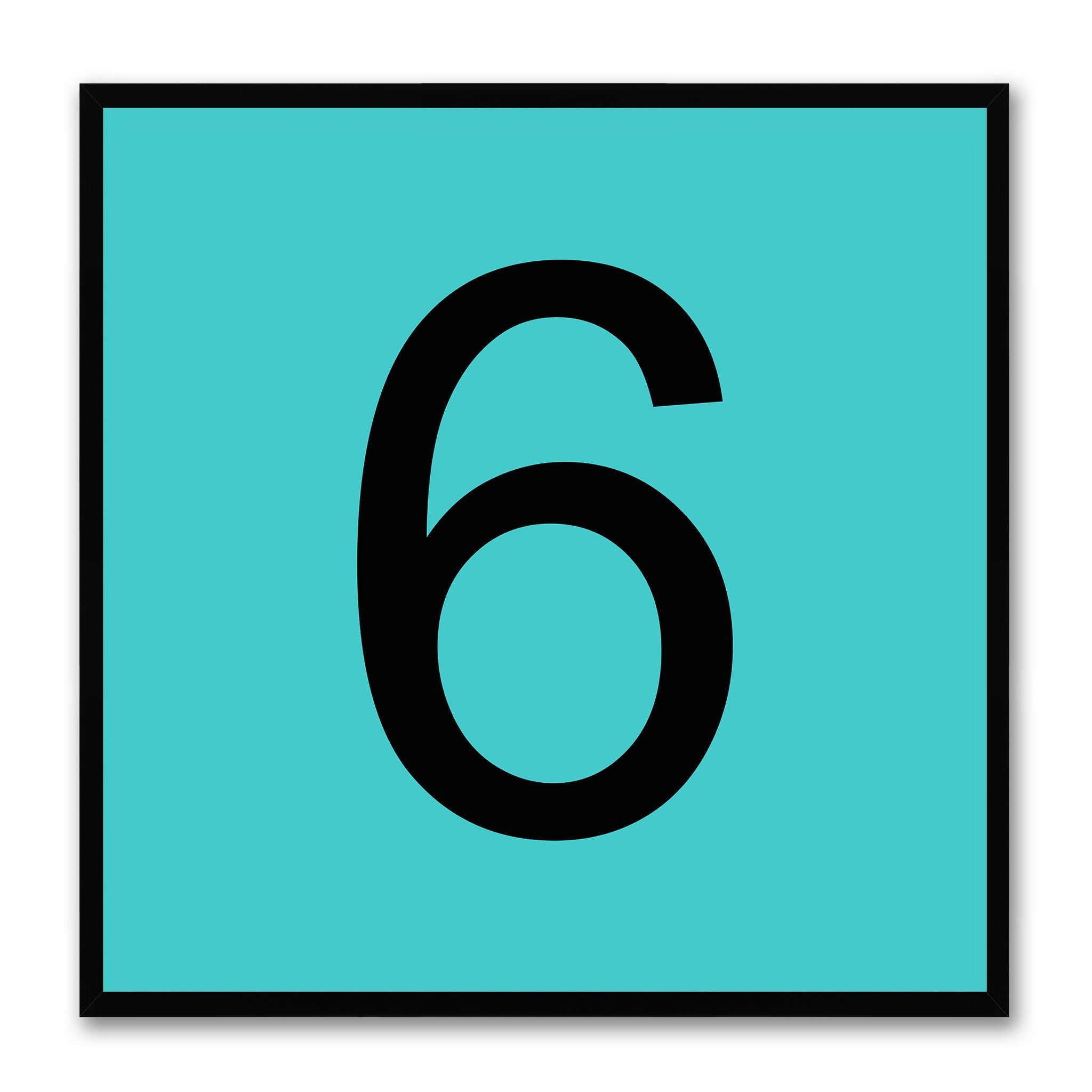 Number 6 Aqua Canvas Print Black Frame Kids Bedroom Wall Décor Home Art