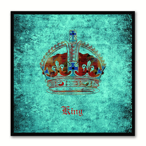 King Aqua Canvas Print Black Frame Kids Bedroom Wall Home Décor