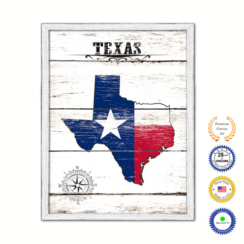 Texas Flag Gifts Home Decor Wall Art Canvas Print with Custom Picture Frame