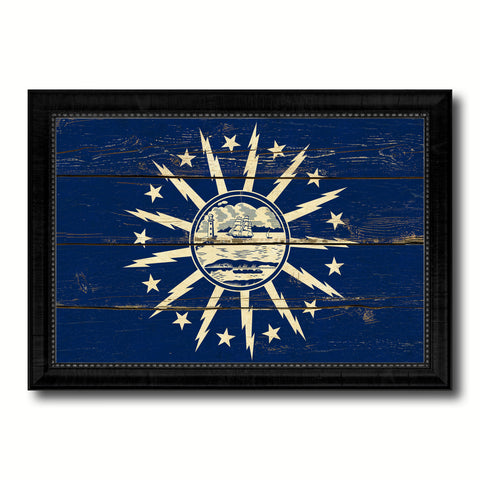 Buffalo City New York State Vintage Flag Canvas Print Black Picture Frame