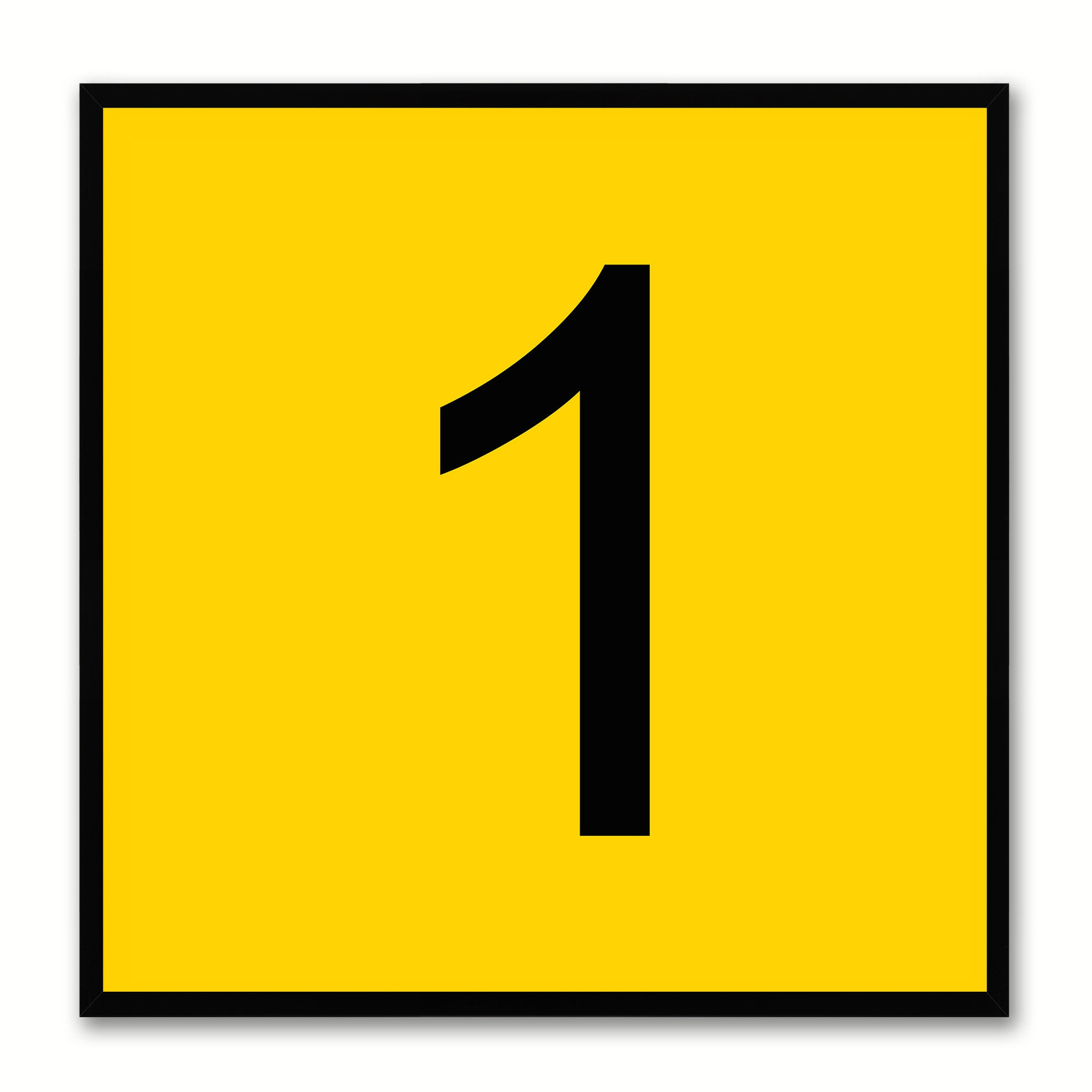 Number 1 Yellow Canvas Print Black Frame Kids Bedroom Wall Décor Home Art